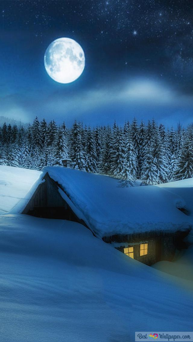 Full Moon Over Winter Cabin Hd Wallpaper Download