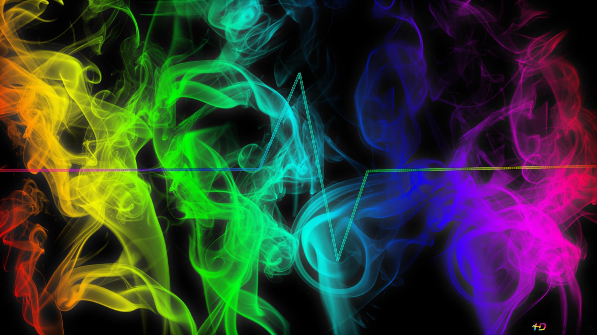 Fumée Abstrait Coloré Et Fond Noir Sur Le Rythme Cardiaque