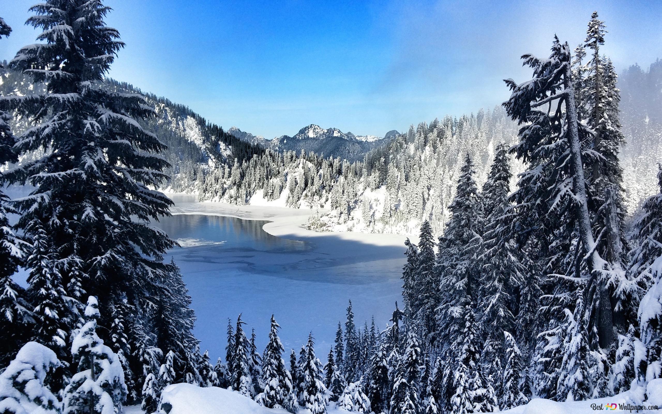 Gefrorener See und Schnee HD Hintergrundbilder herunterladen
