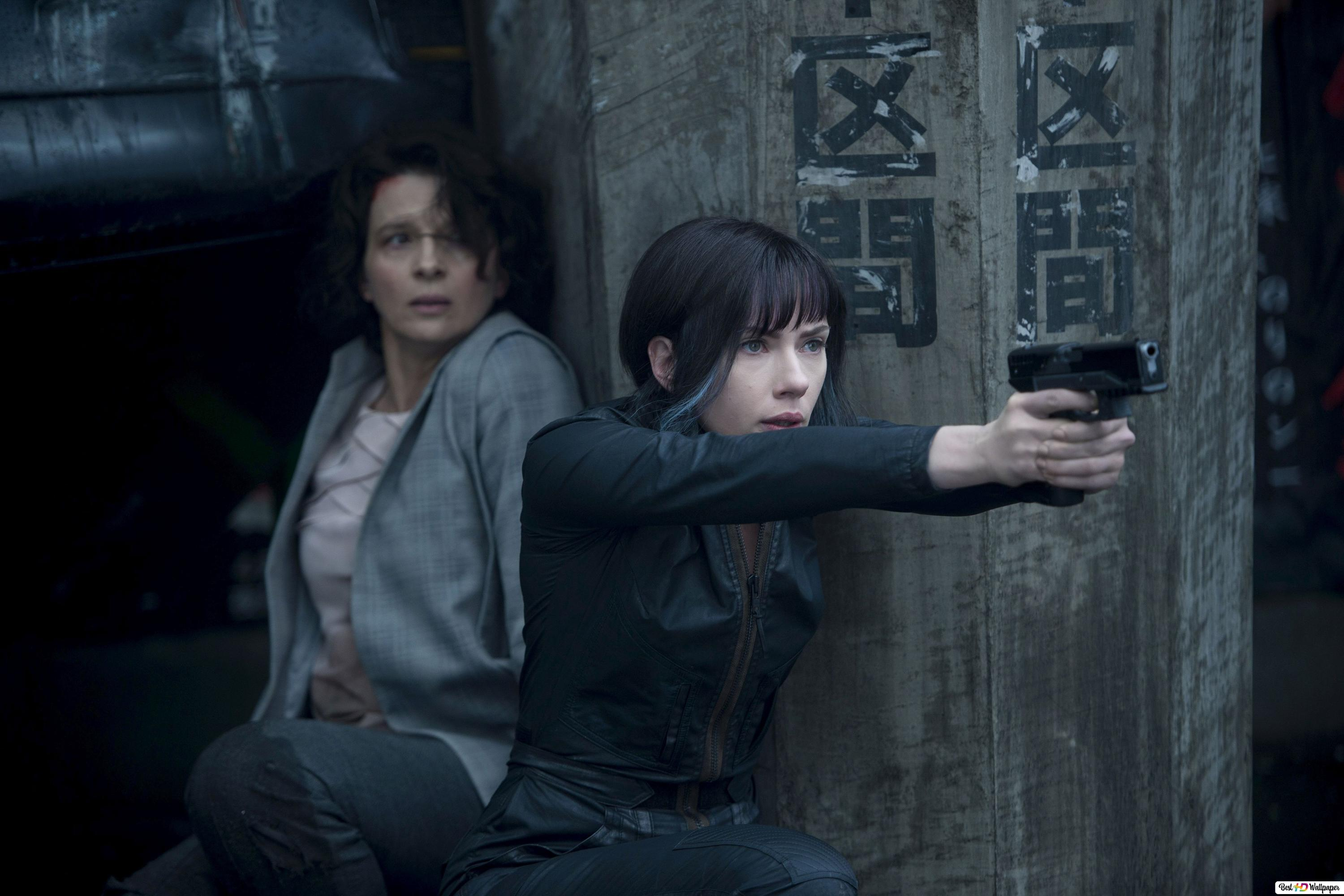 Ghost In The Shell Movie Scarlett Johansson With Pistol Hd