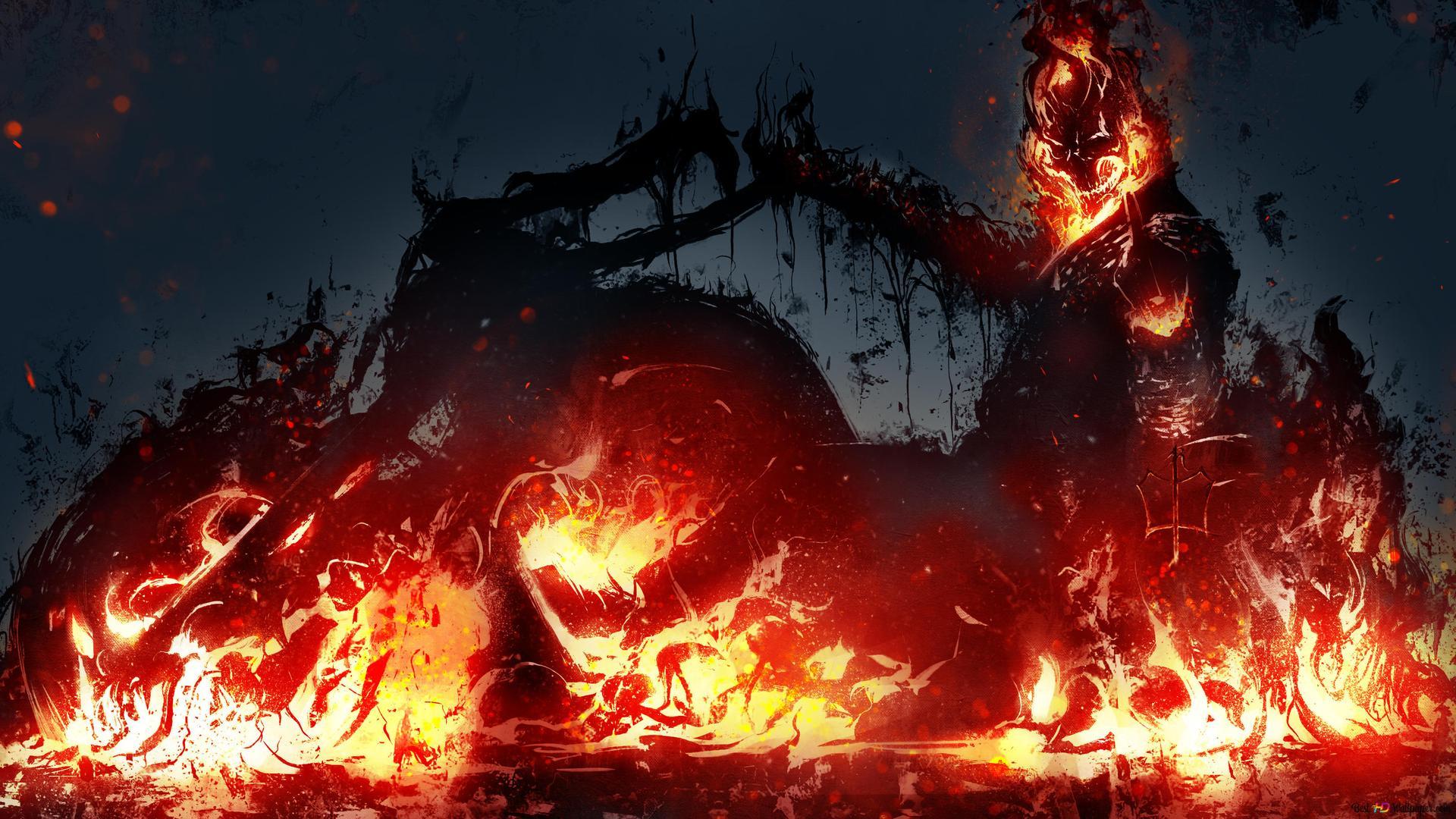 Ghost Rider Movie Fire Skull Digital Art Hd Wallpaper