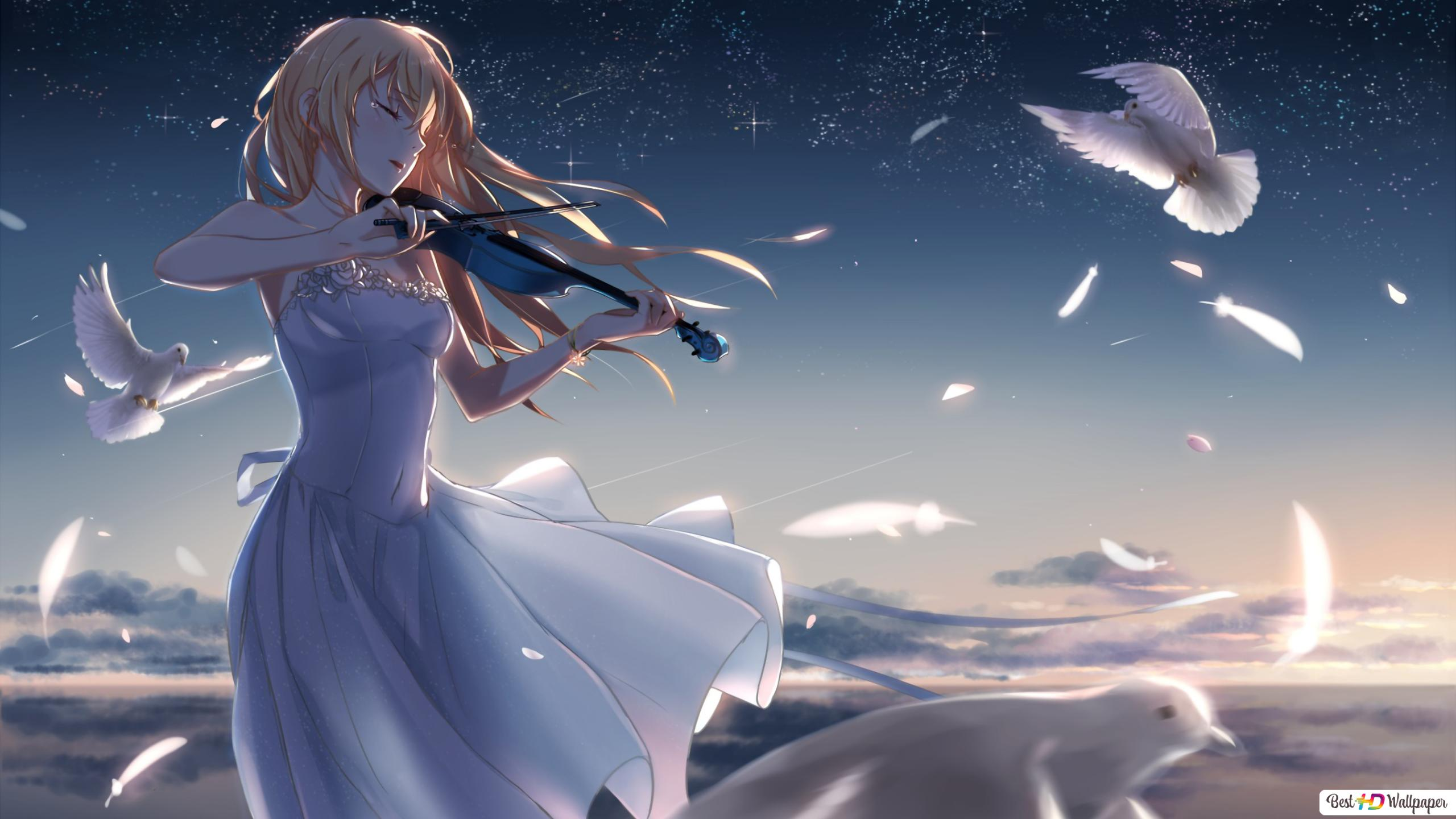 Girl Playing The Violin From Your Lie In April Hd Wallpaper Download