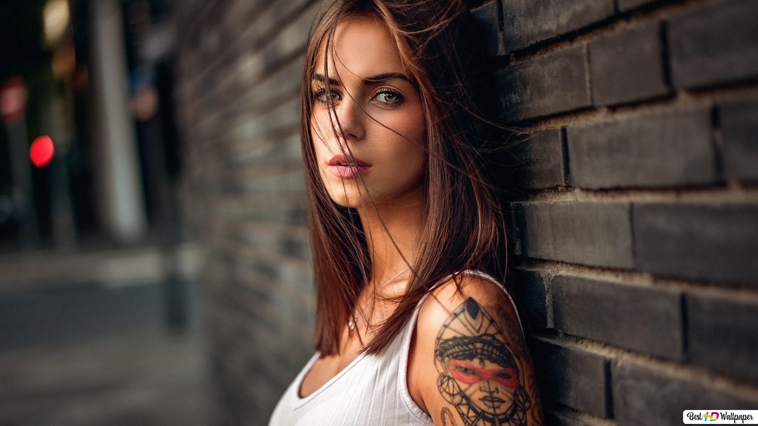 Girl With Shoulder Tattoo Hd Wallpaper Download