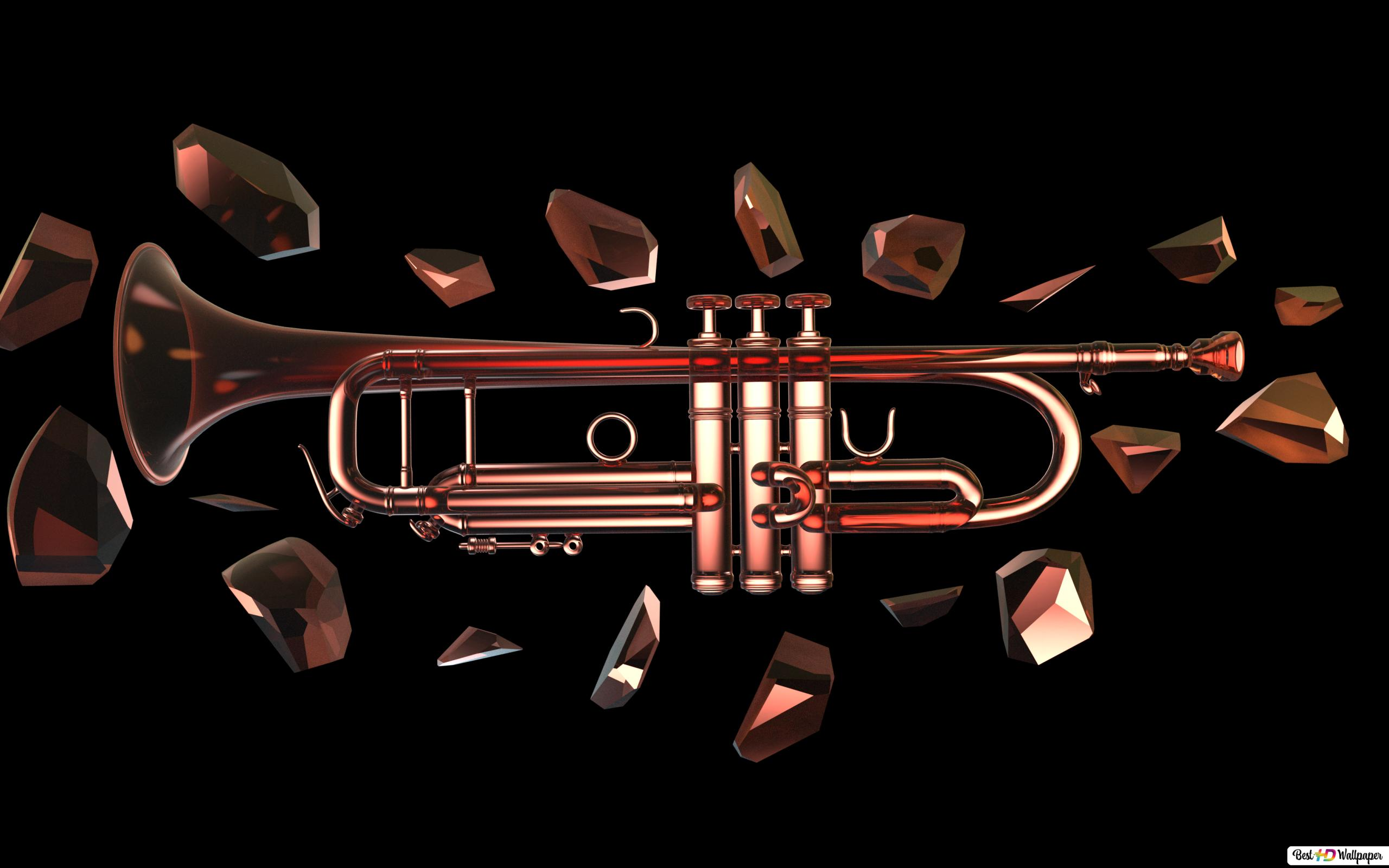 Glass trumpet and crystal ornaments HD