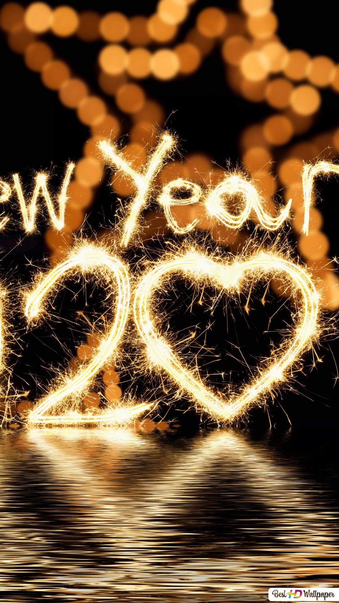 Glowing 2020 Happy New Year Water Reflection Hd Wallpaper Download