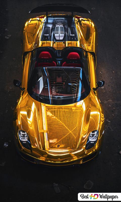 Gold Porsche 918 Spyder Sport Car Hd Wallpaper Download