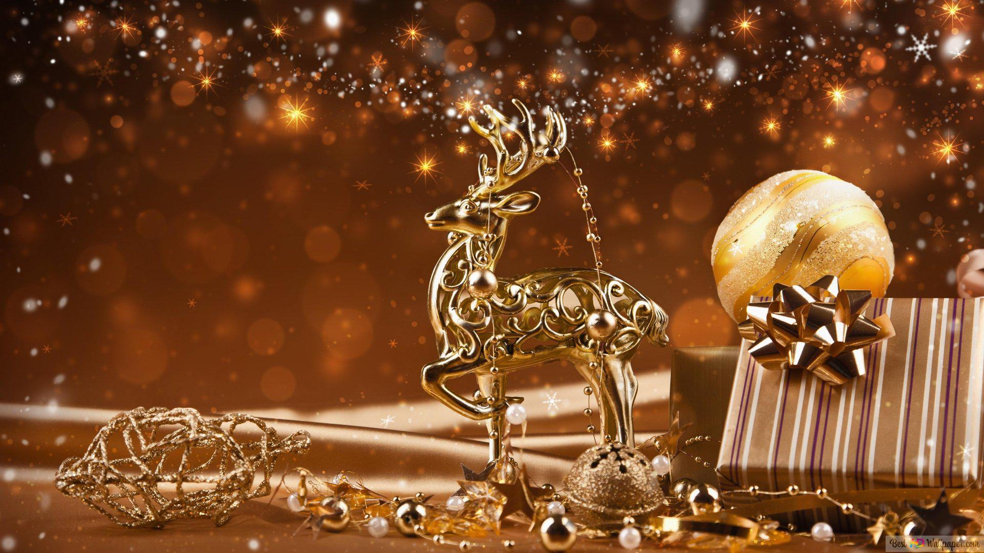 Weihnachten Hd Bilder.Goldenes Themed Weihnachten Hd Hintergrundbilder Herunterladen