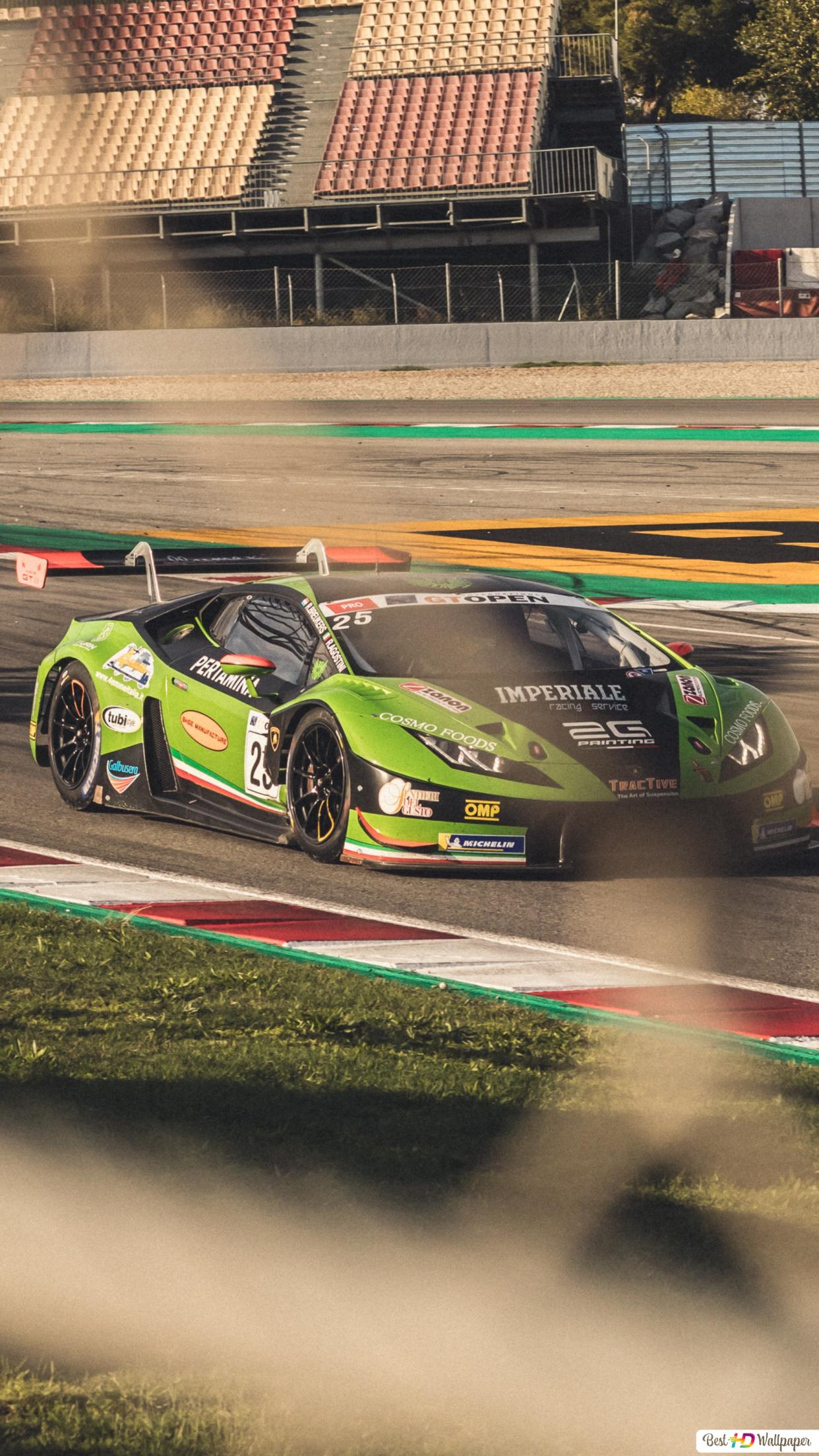 Green And Black Lamborghini Race Car On Track During Daytime Hd Wallpaper Download
