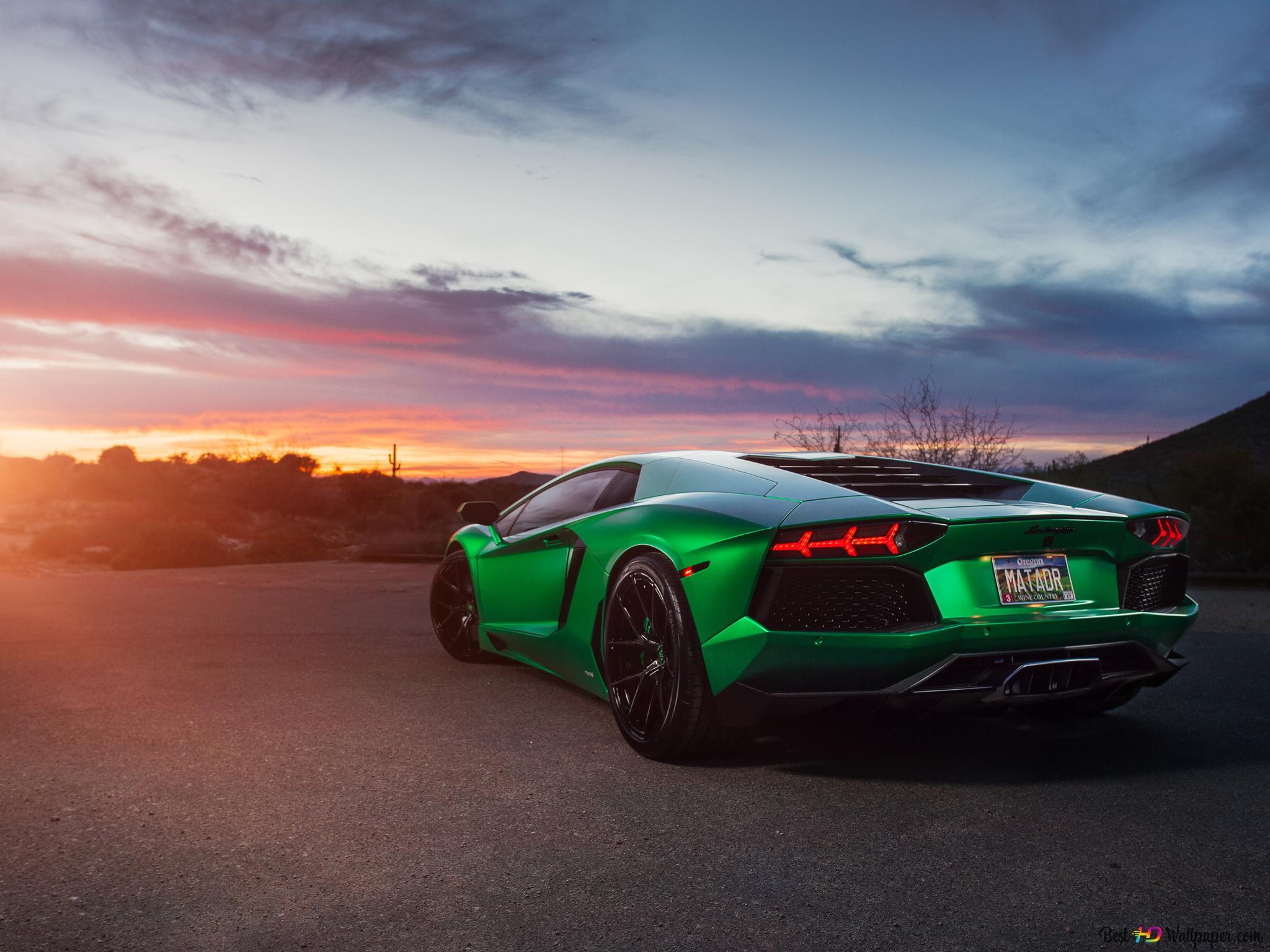 Green Lamborghini Aventador Hd Wallpaper Download