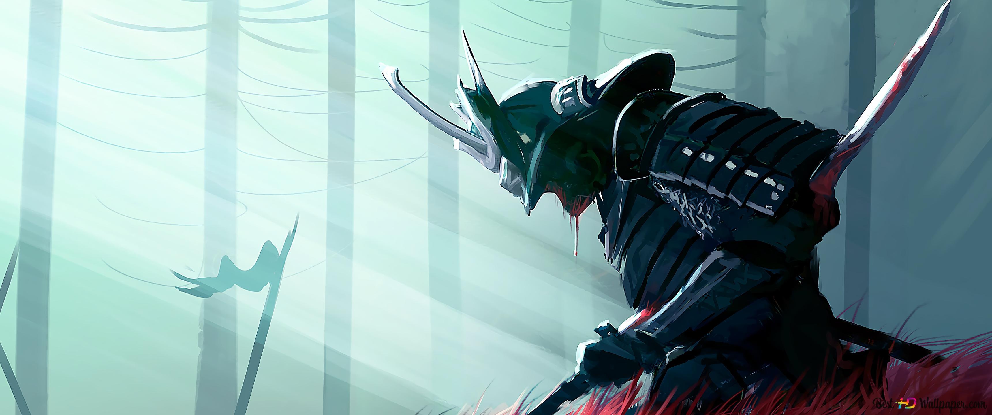 [Minha História] Um novo começo! [Meu diário] Guerreiro-do-samurai-da-fantasia-papel-de-parede-3440x1440-12595_15