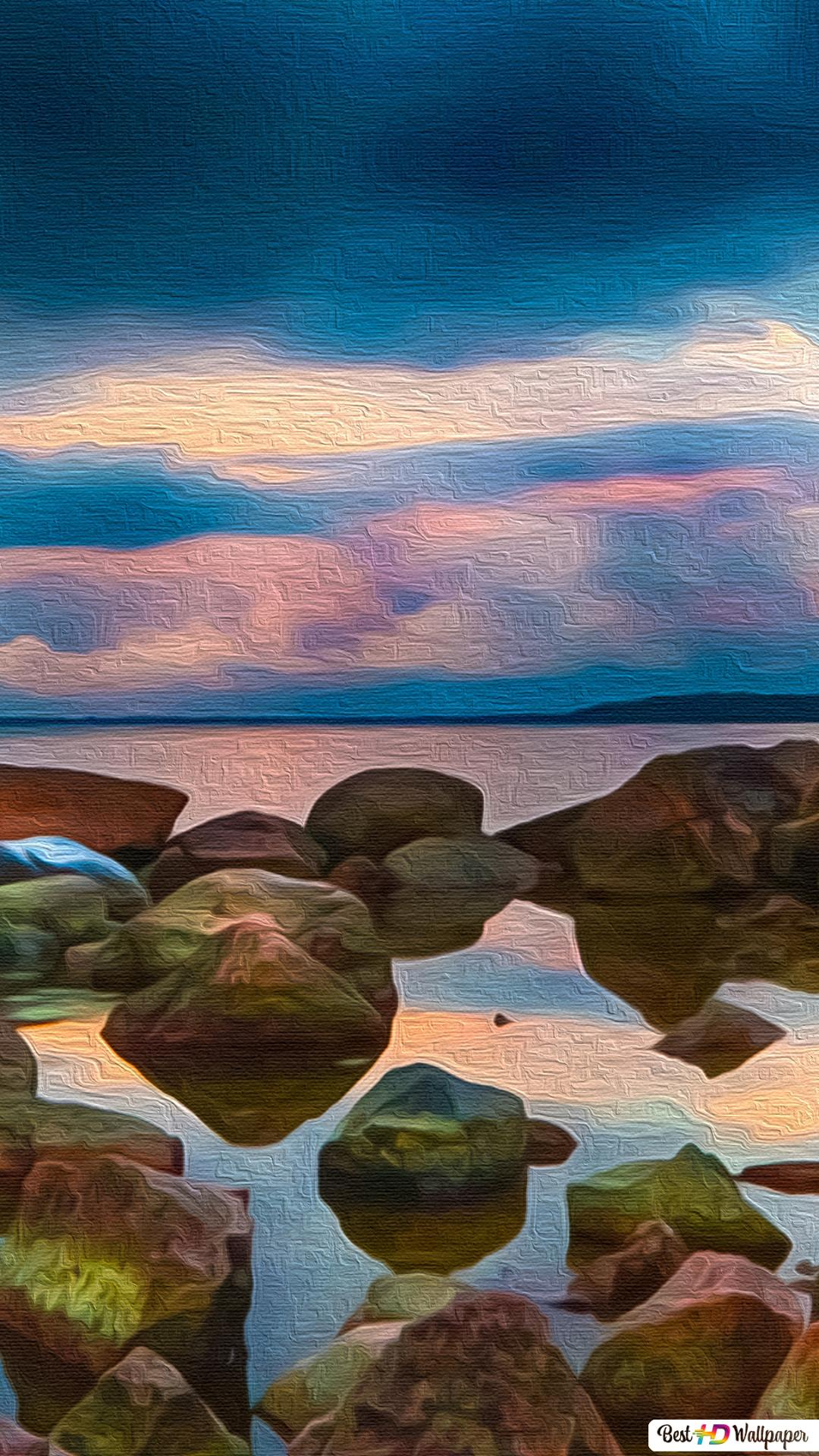 海岸にある岩の芸術の絵画 Hd壁紙のダウンロード
