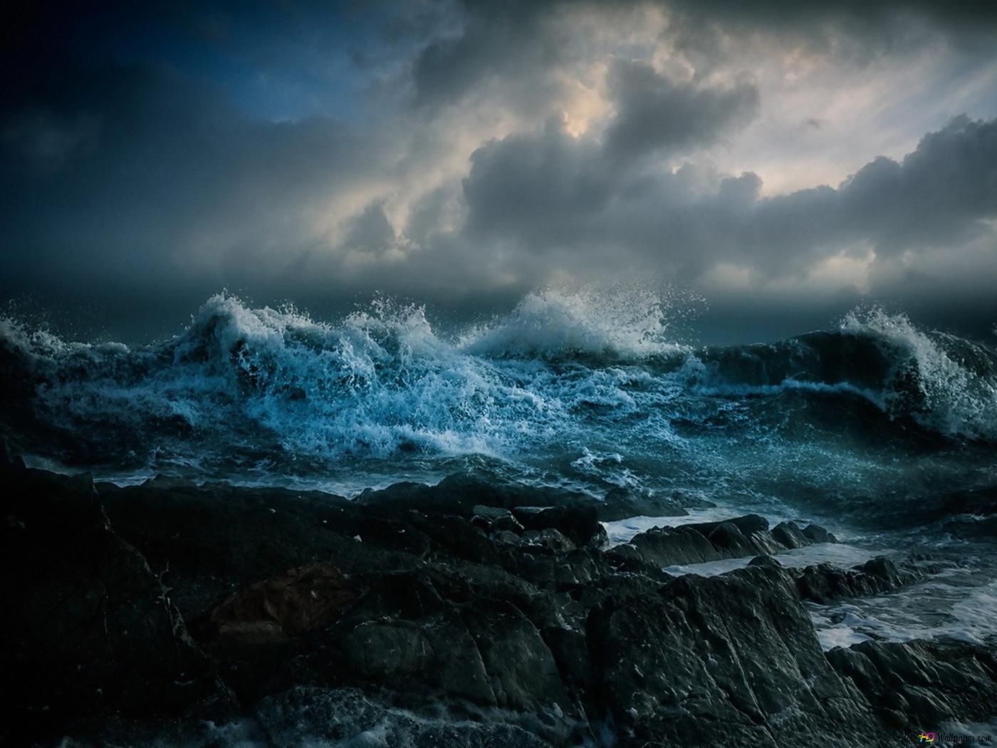海で磯の隣の嵐 Hd壁紙のダウンロード