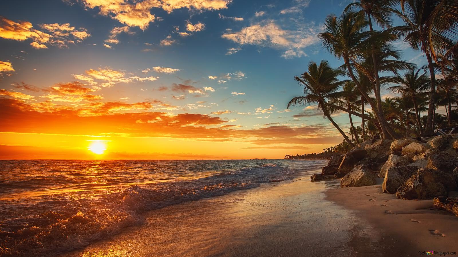 海のビーチの夕日 Hd壁紙のダウンロード