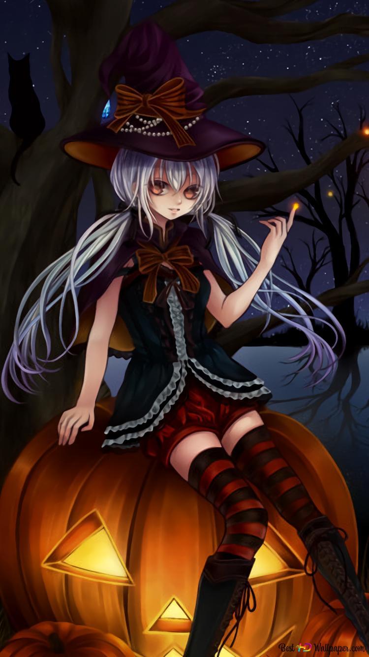 Halloween Anime Sorciere Hd Fond D Ecran Telecharger