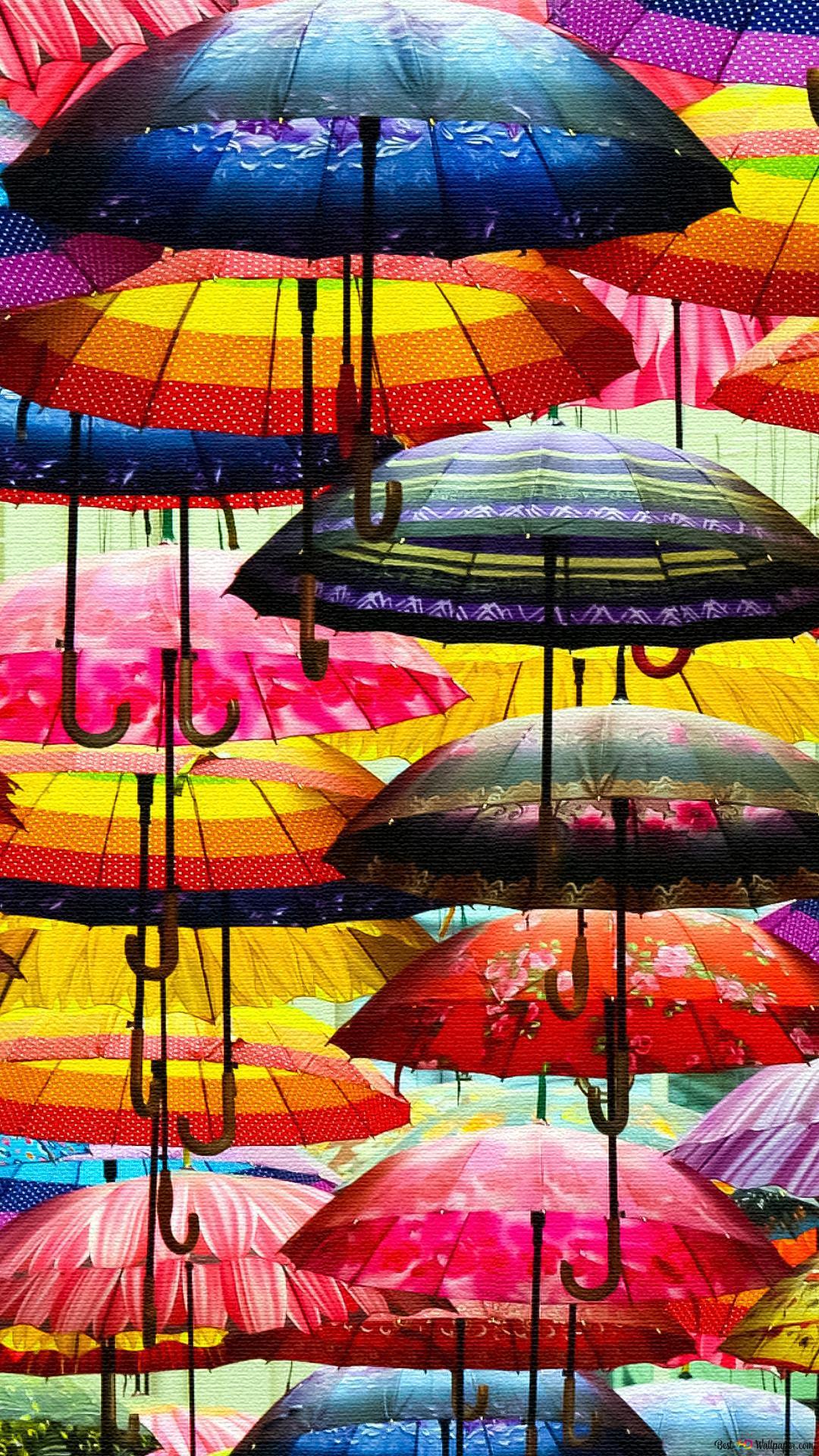Hanging Colorful Umbrellas Hd Wallpaper Download