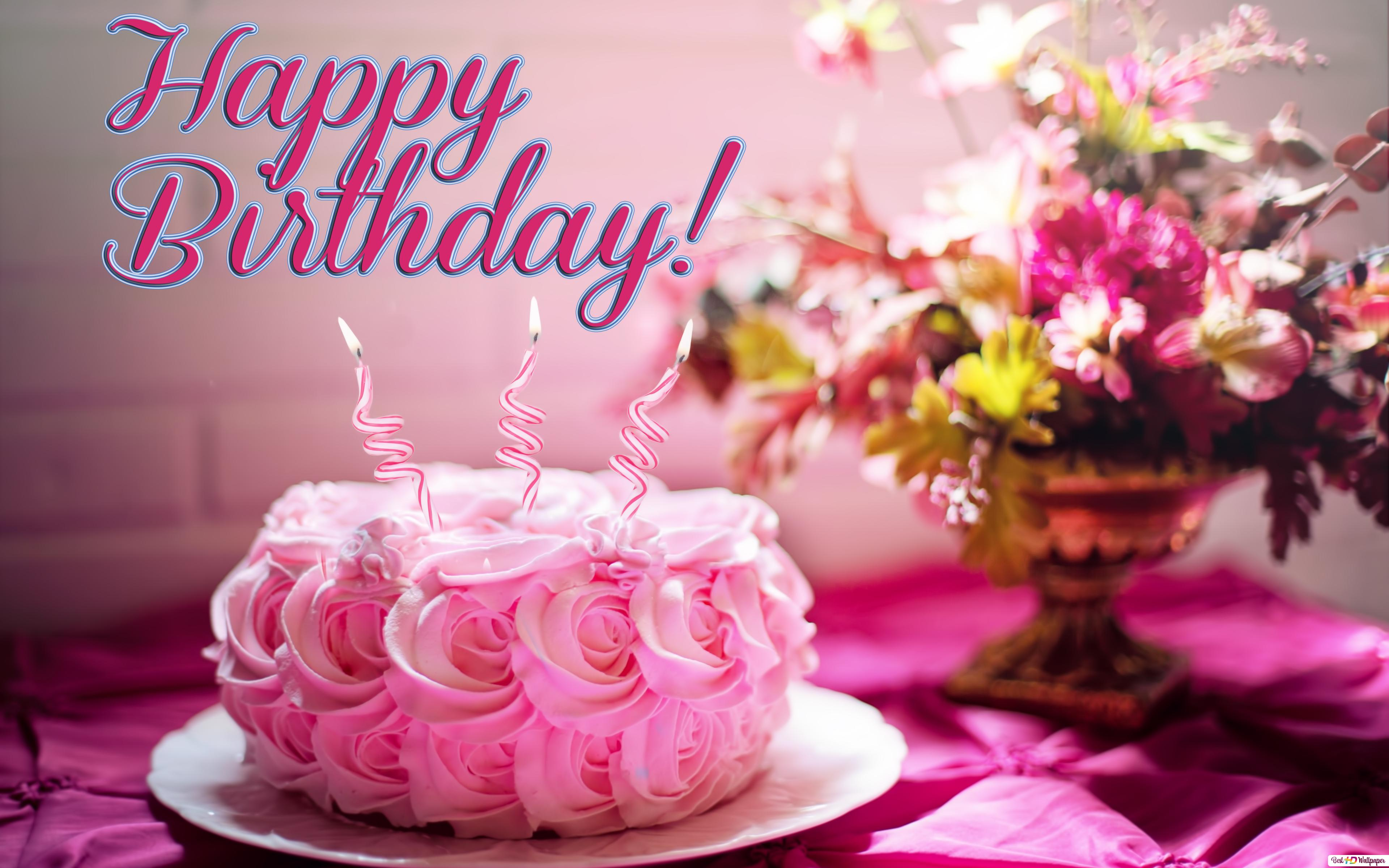 Happy Birthday Pink Cake And Helix Candle HD Wallpaper Download