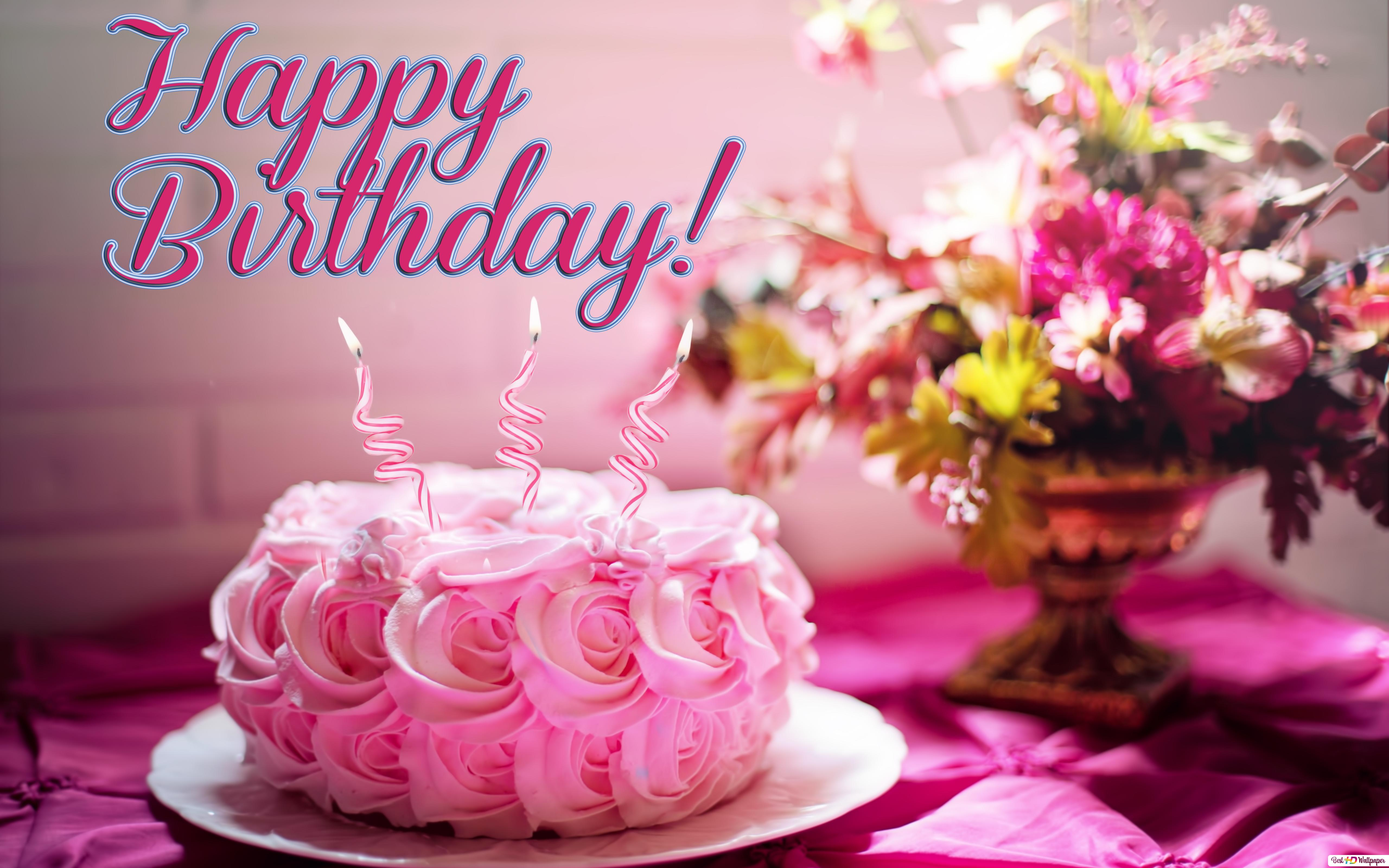 Surprising Happy Birthday Pink Cake And Helix Candle Hd Wallpaper Download Personalised Birthday Cards Paralily Jamesorg
