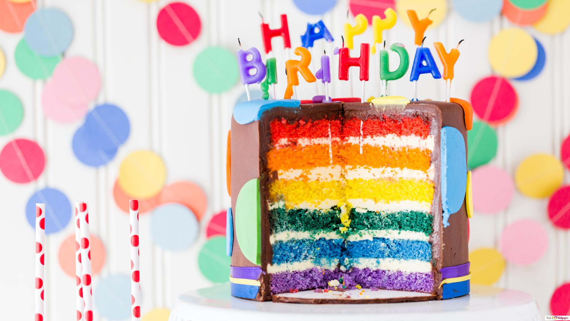 Happy Birthday Rainbow Cake HD Wallpaper Download