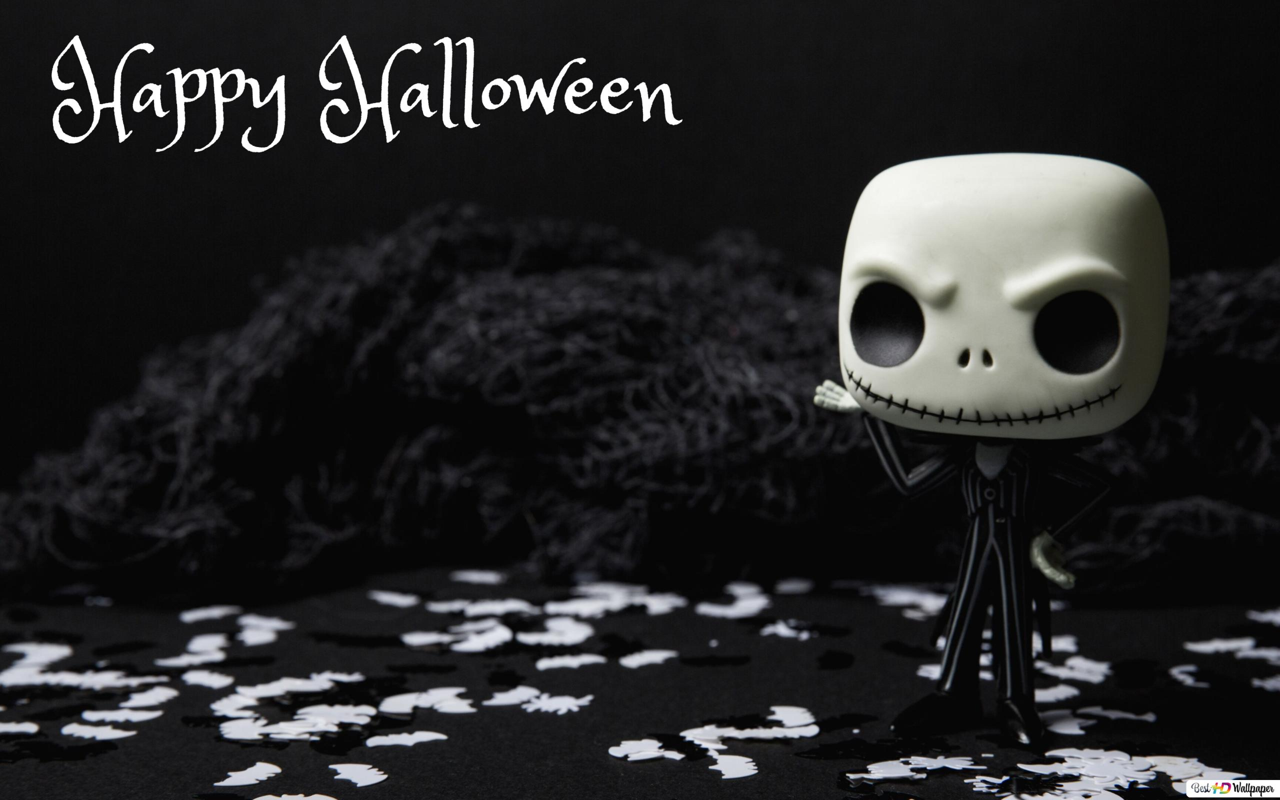 Happy Halloween Black White Hd Wallpaper Download