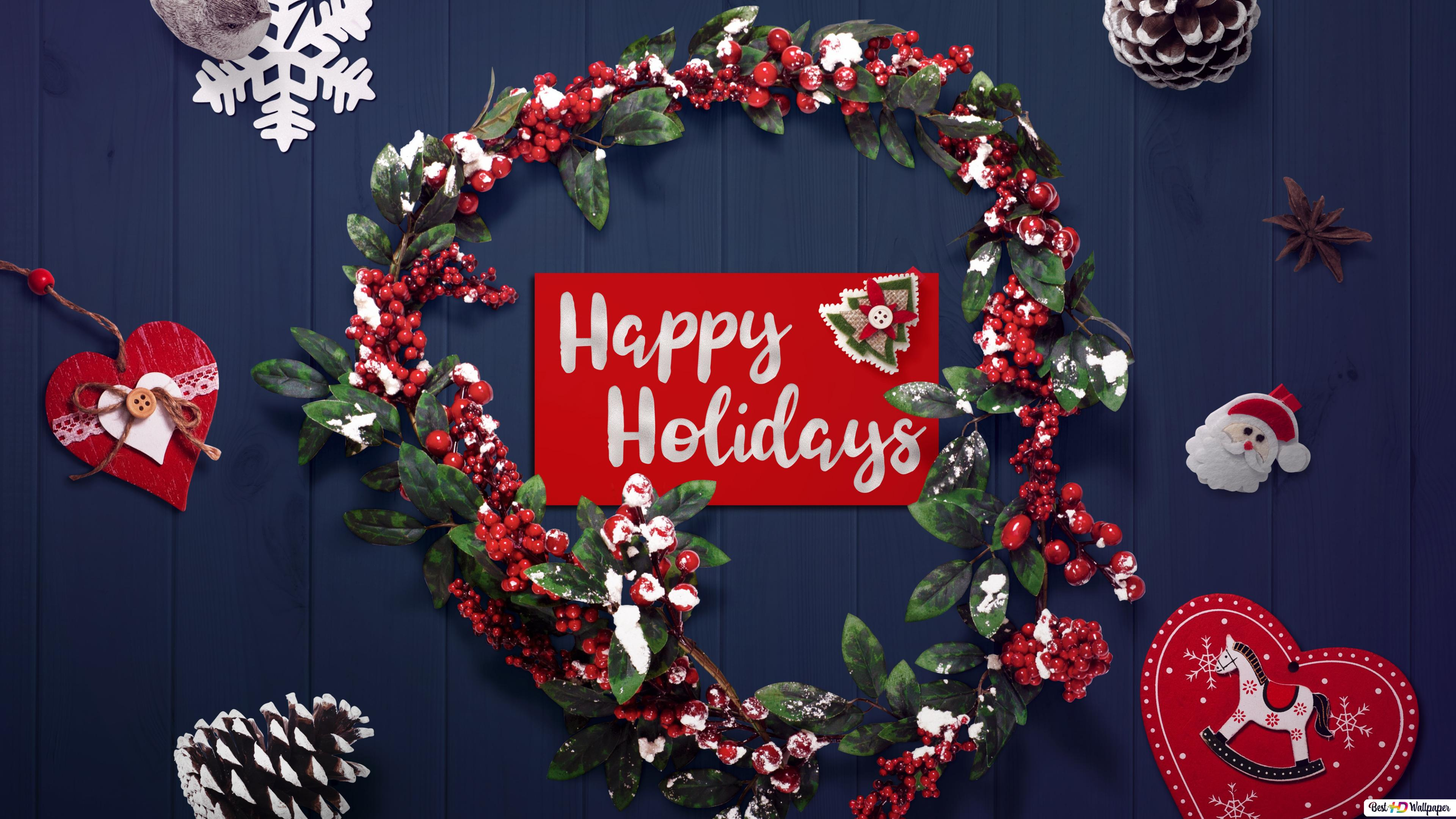 Happy Holidays Greetings With Christmas Decorations Hd Wallpaper Download
