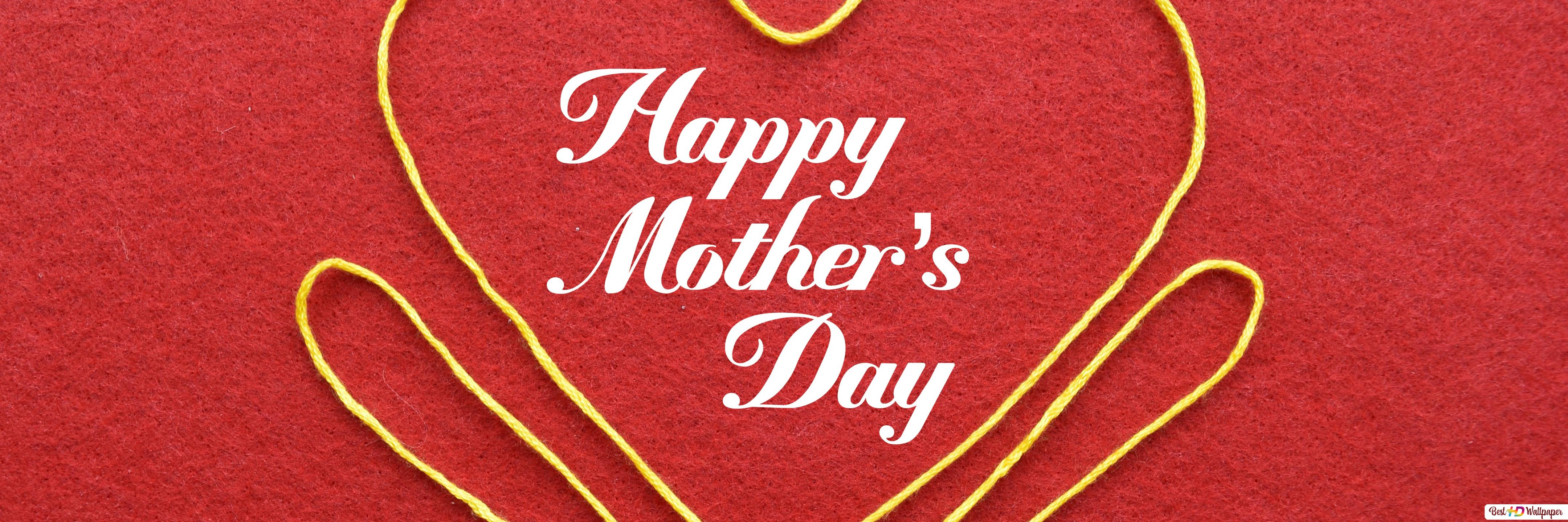 Happy Mother's Day greeting with yellow thread heart in red ...