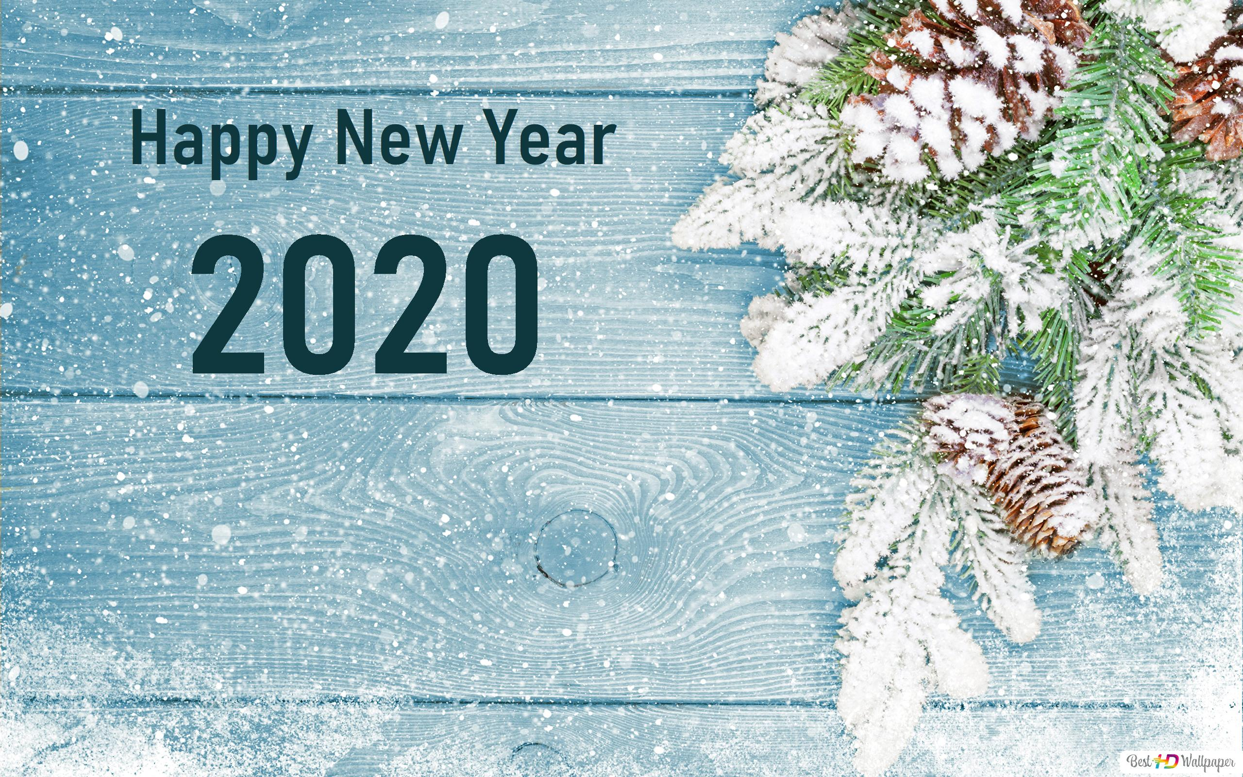 Happy New Year 2020 Snow And Pines Hd Wallpaper Download