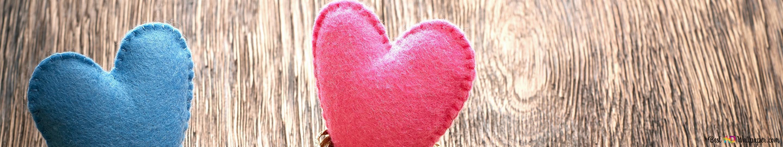 hari valentine hati pink dan biru lucu wallpaper 2880x540 13959 123