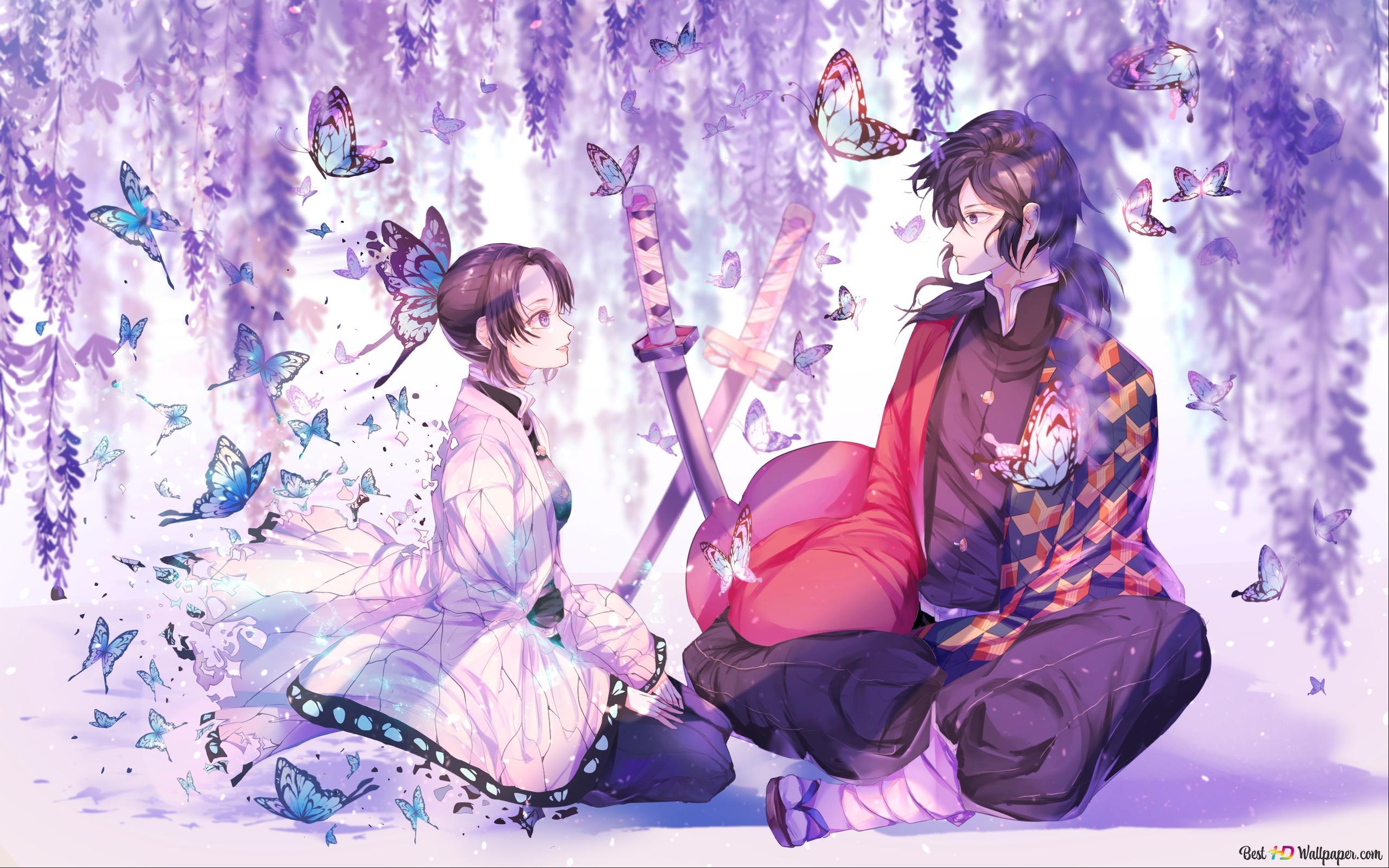 hashira s shinobu and giyu with purple wisteria and butterflies background wallpaper 2560x1600 42571 7