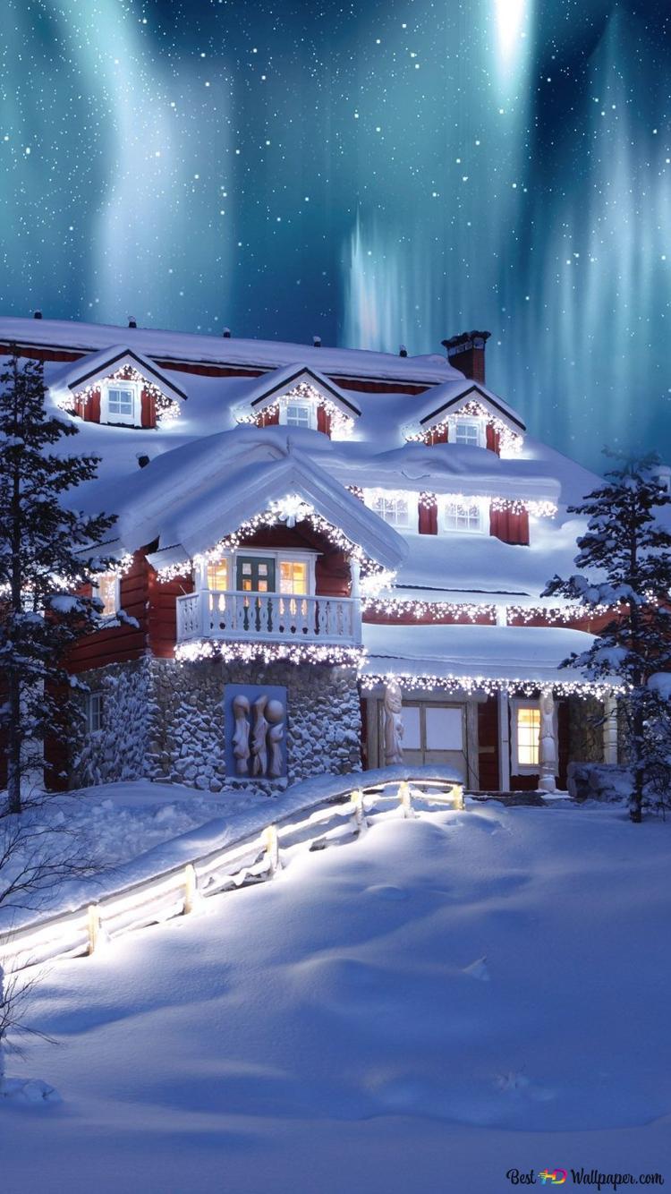 Saturn Weihnachtsbeleuchtung.Haus Dekoriert Mit Weihnachtsbeleuchtung Hd Hintergrundbilder