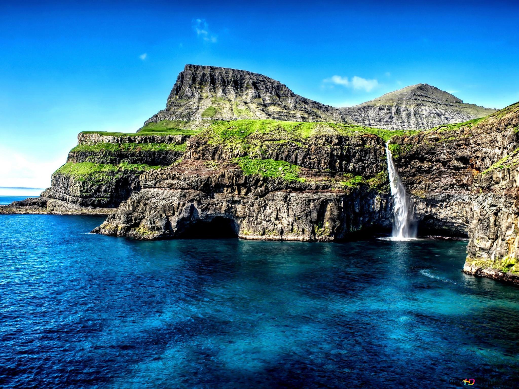 ハワイの海岸の滝 Hd壁紙のダウンロード