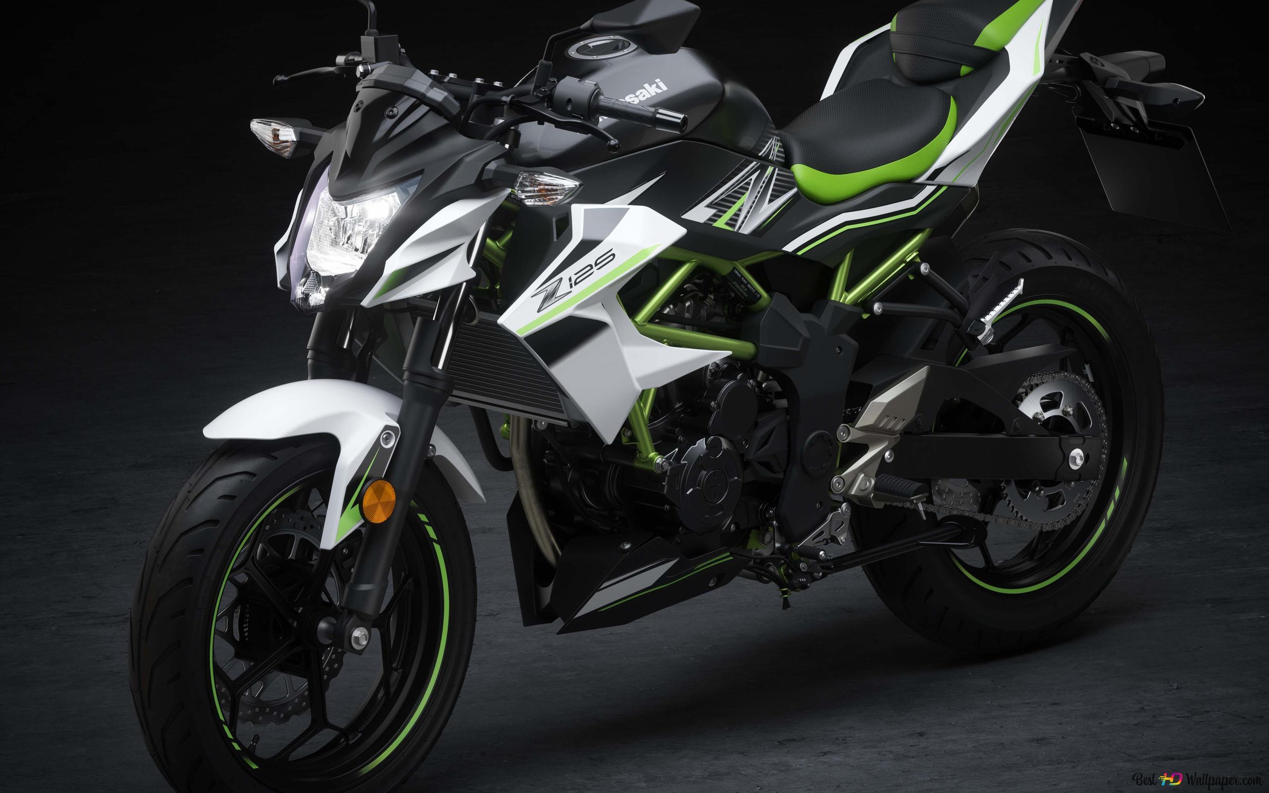 黒 白 緑色川崎バイク Hd壁紙のダウンロード