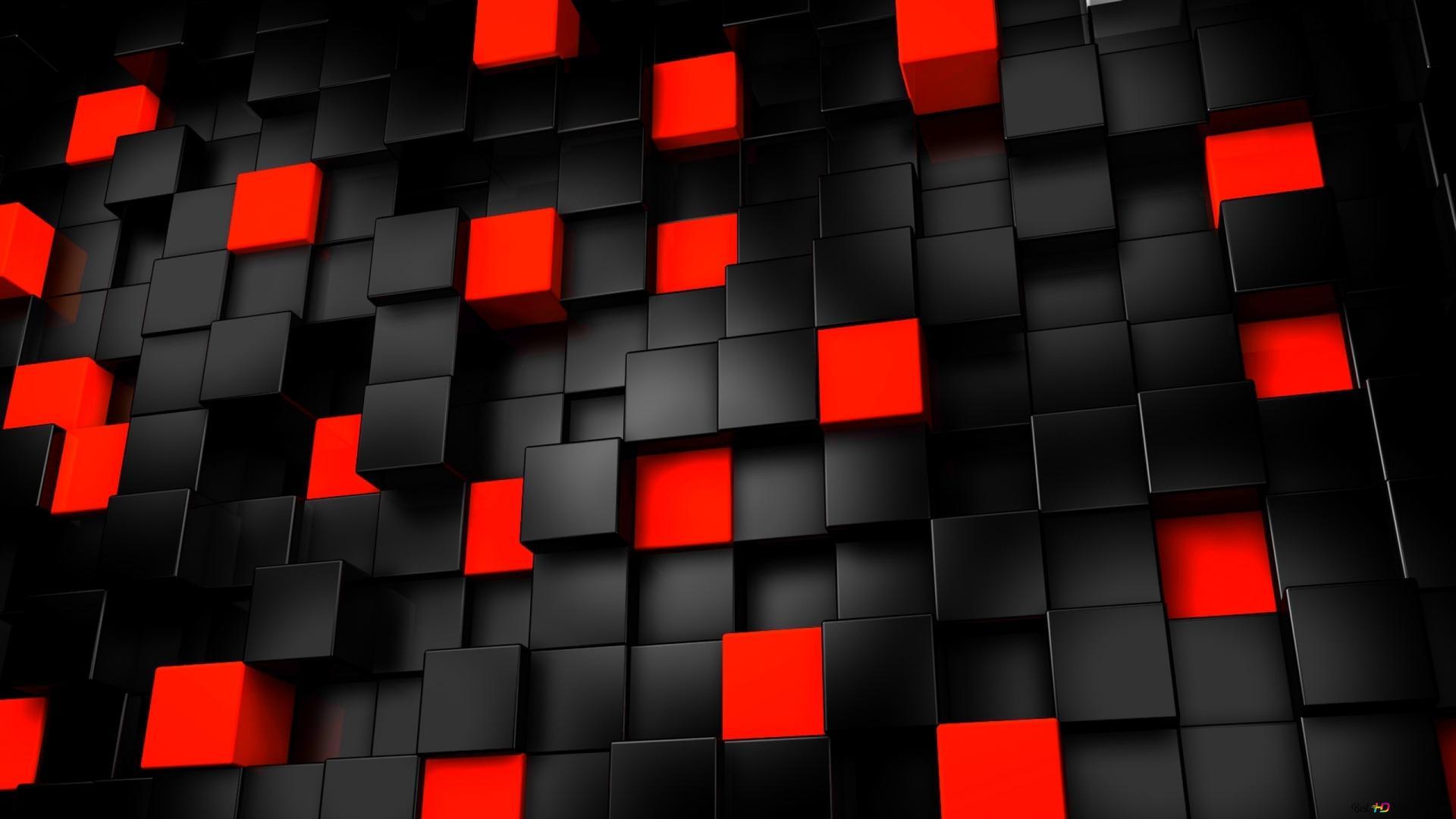 黒と赤の立方体 Hd壁紙のダウンロード