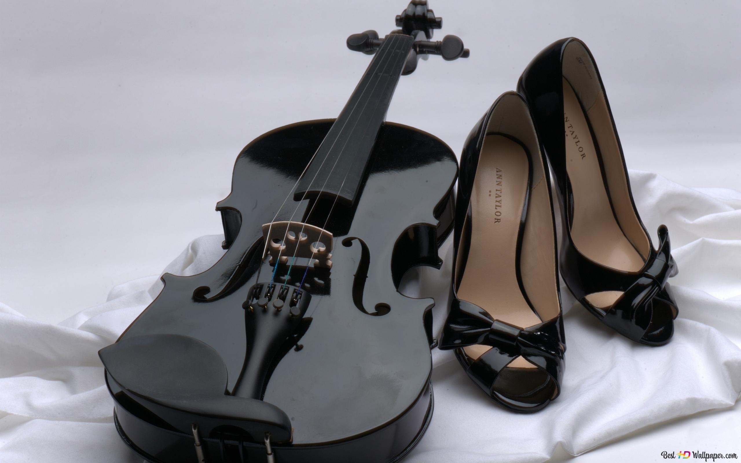 黒ヴァイオリンとハイヒールの靴 Hd壁紙のダウンロード