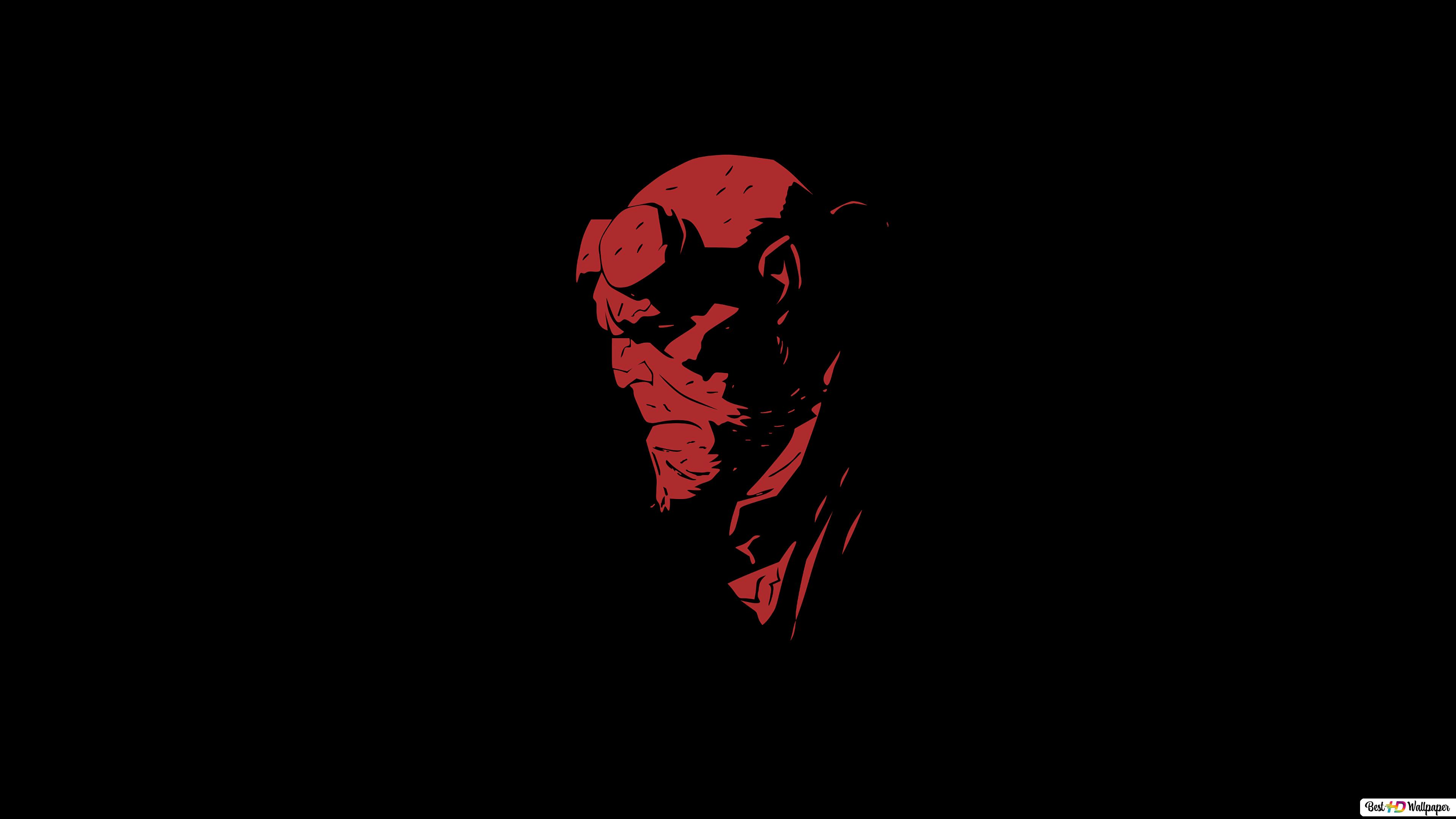 Hellboy Red And Black Minimalist Hd Wallpaper Download