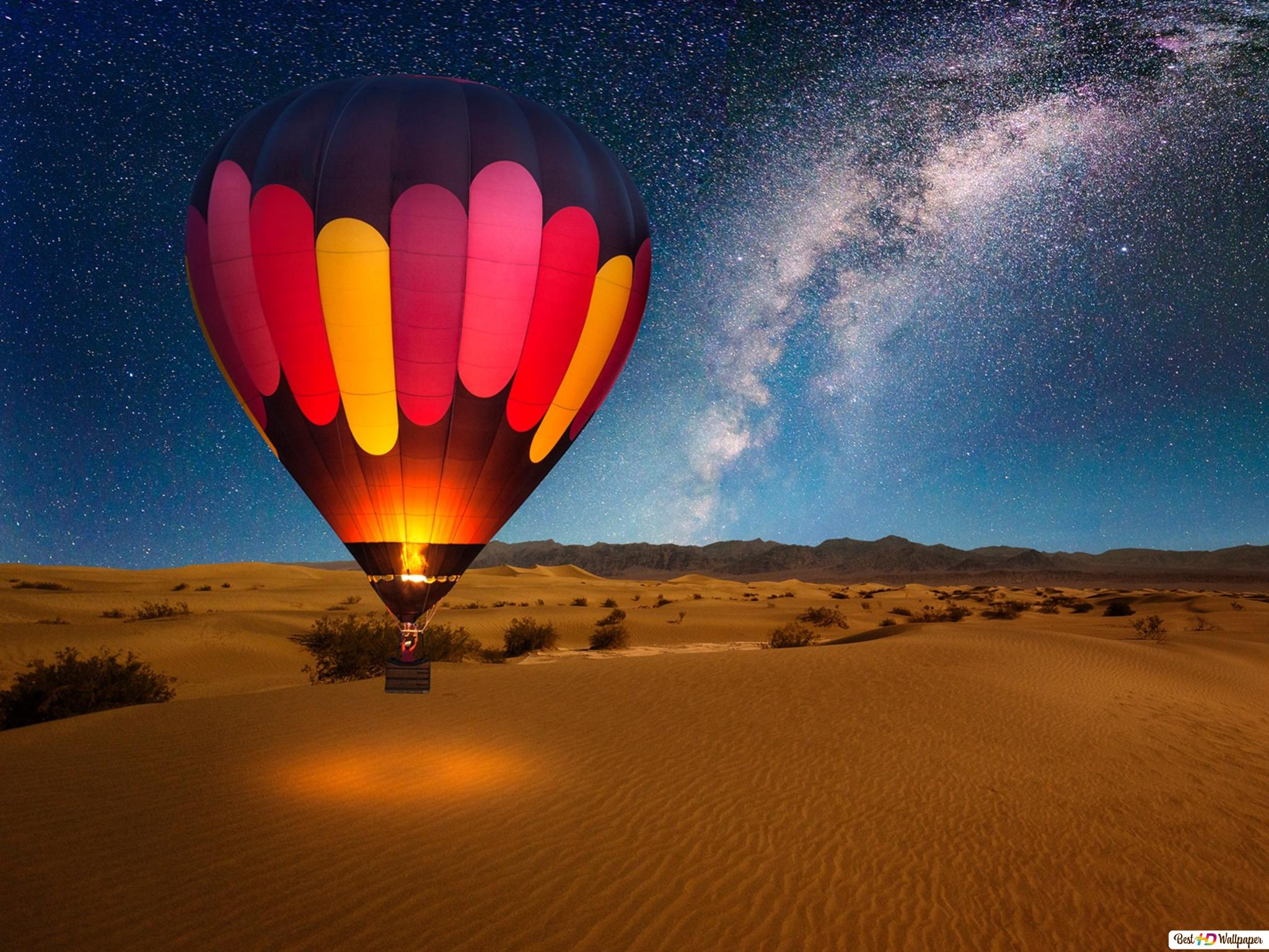 Hot Air Balloon On Desert Night Hd Wallpaper Download