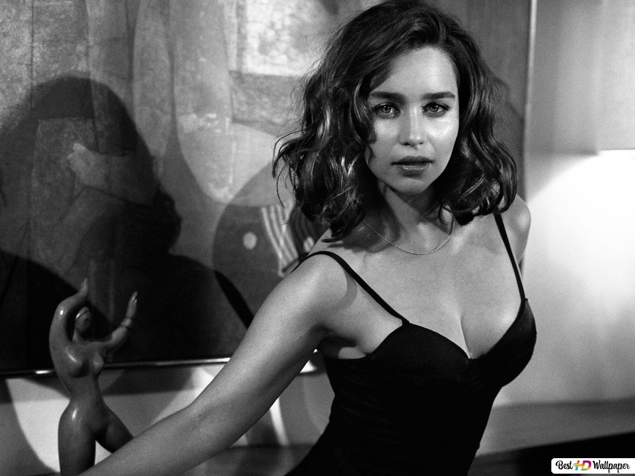 Hot and sexy Emilia Clarke in fitted strappy dress (Monochrome) HD ...