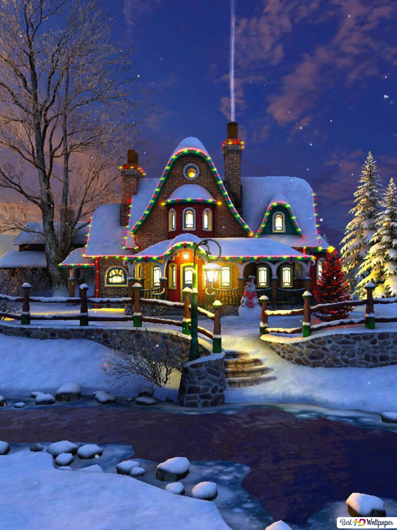 House Decorated For Christmas Hd Wallpaper Download