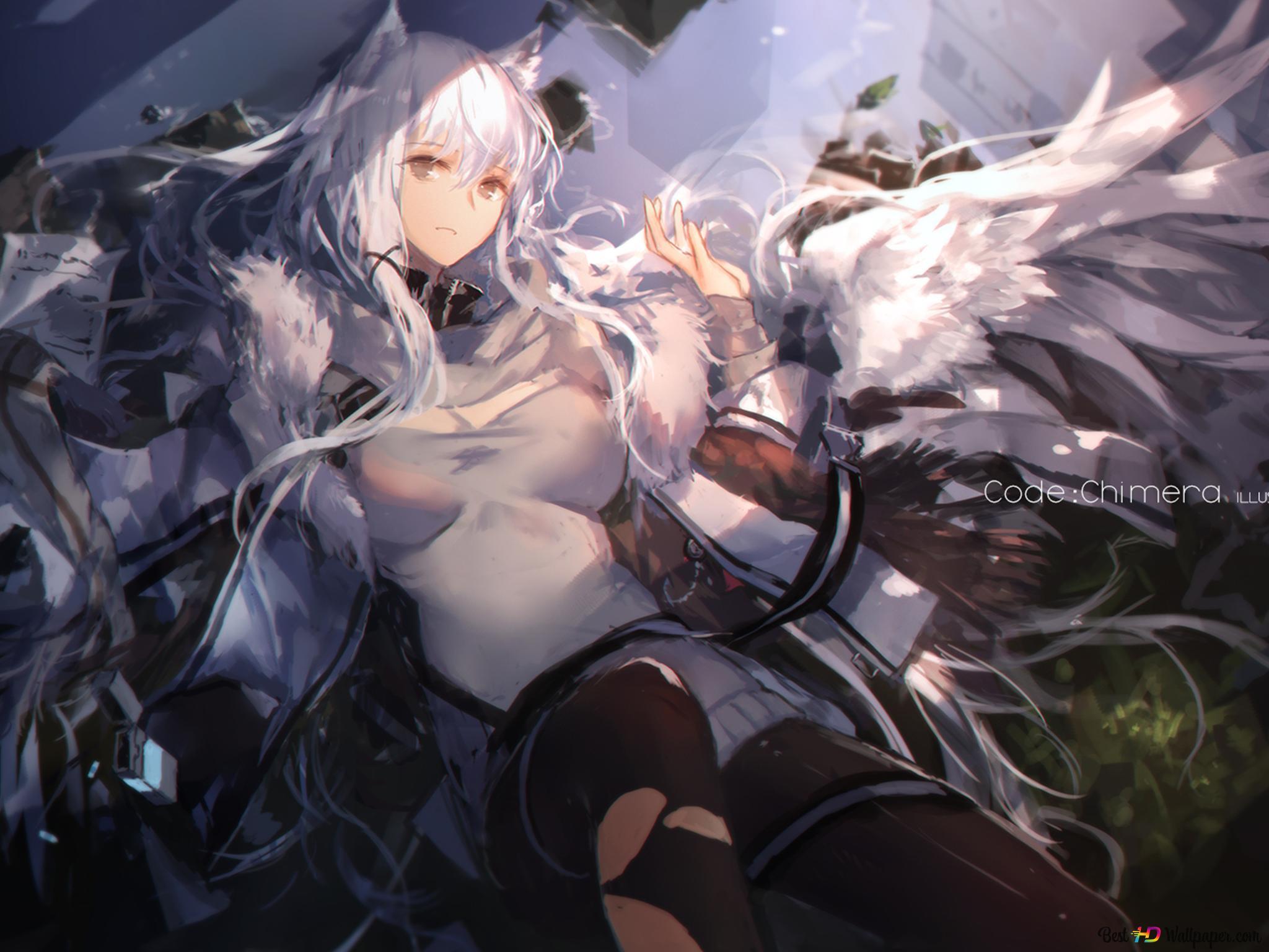 ホワイト髪のアニメの女の子 Hd壁紙のダウンロード