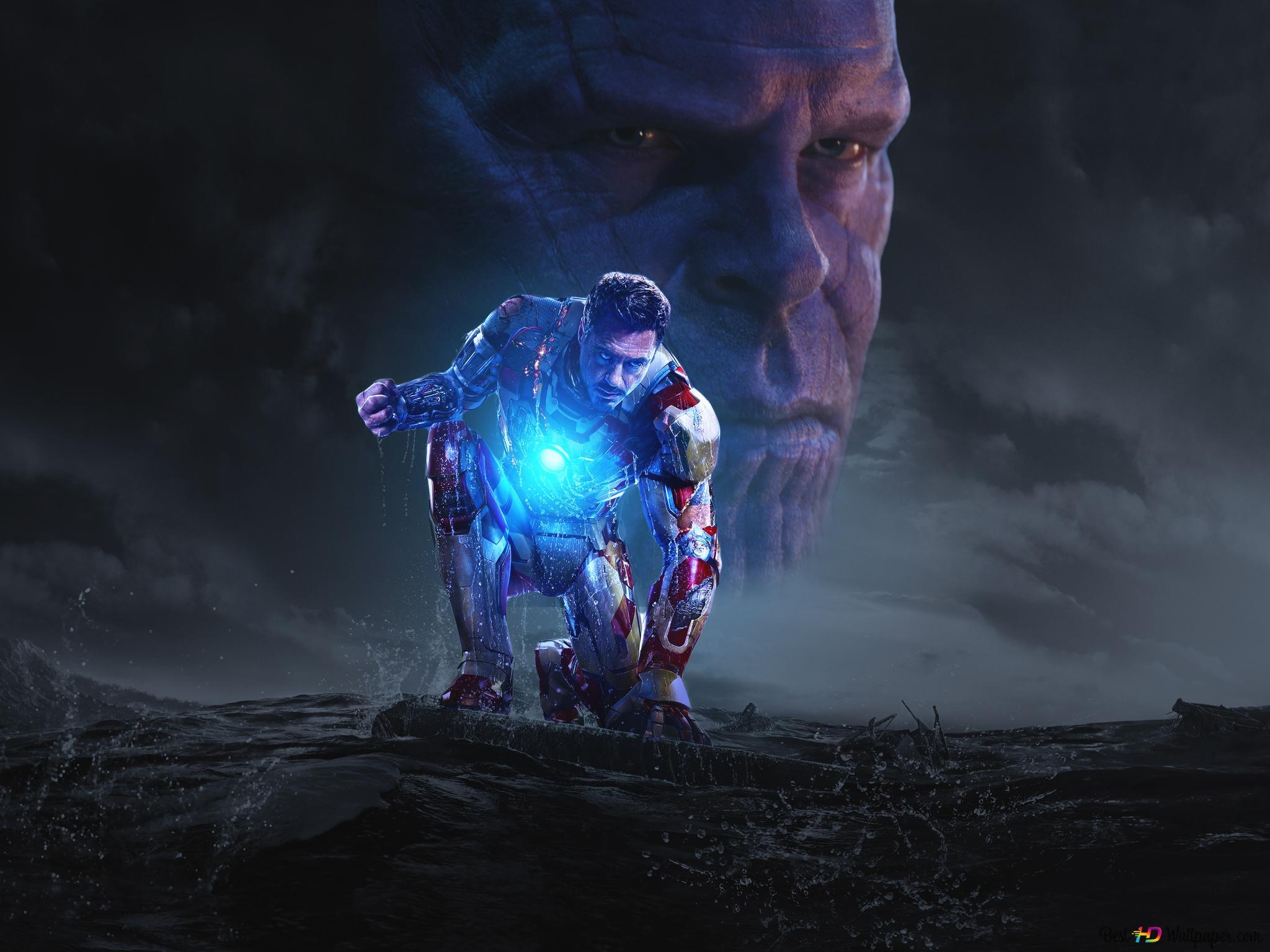 Iron Man 3 Thanos Und Tony Stark Hd Hintergrundbilder Herunterladen