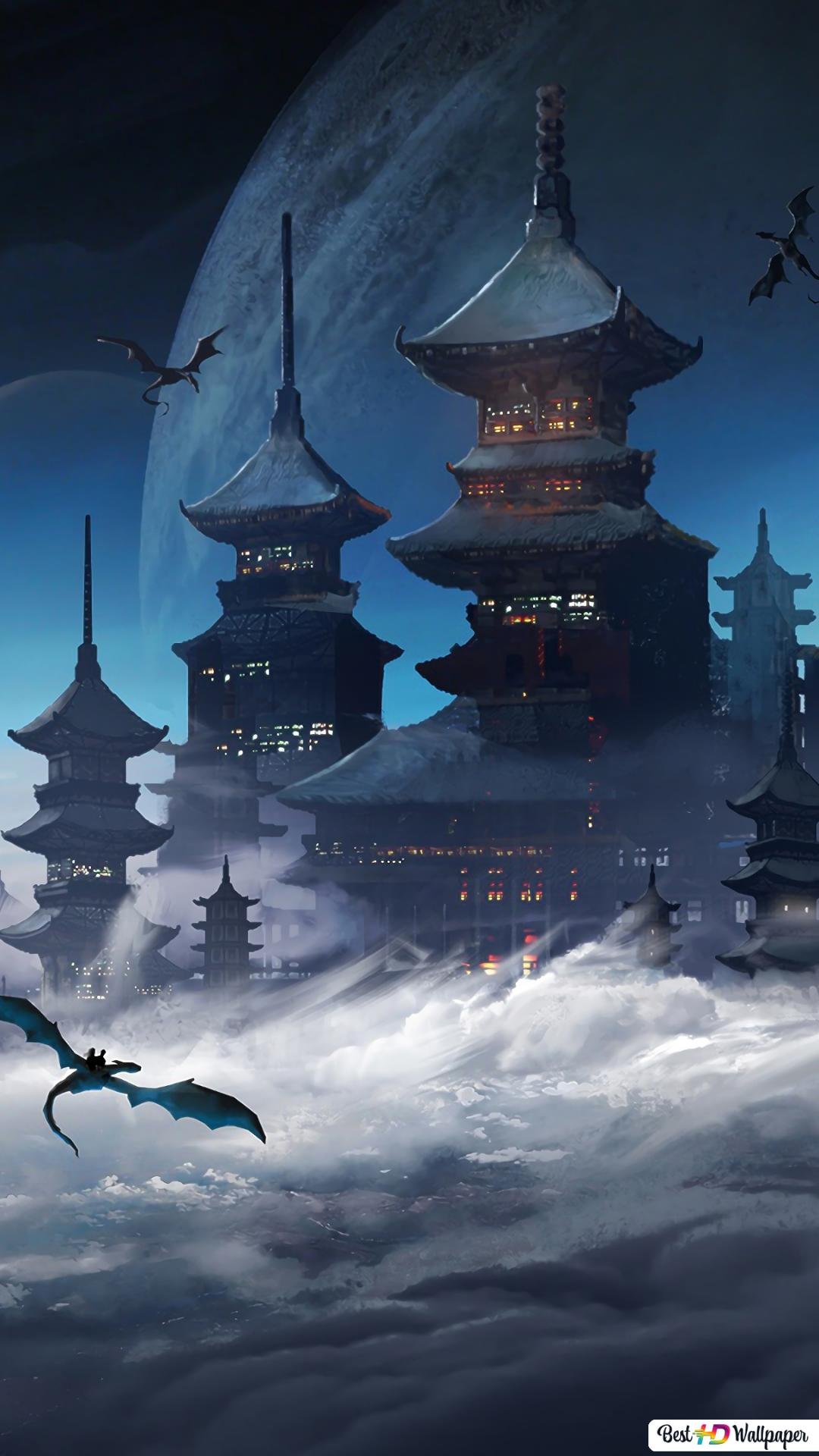 Japanese Castle In The Sky Hd Wallpaper Download
