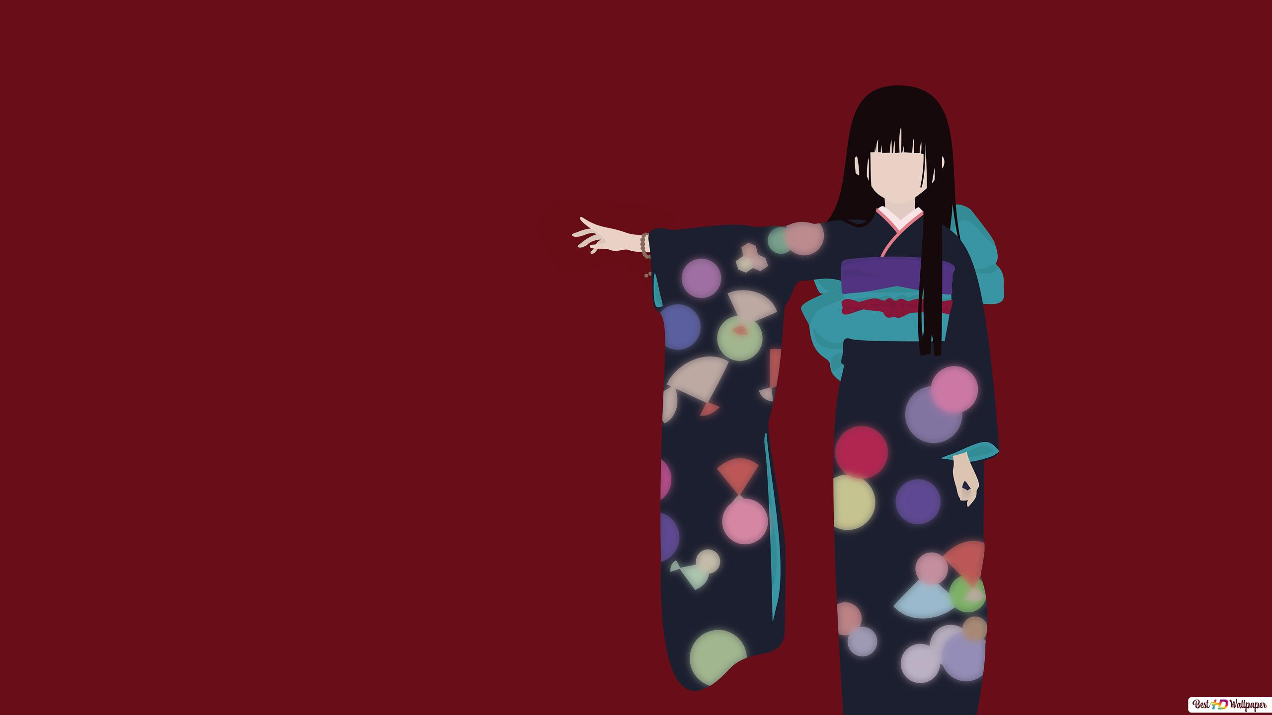 jigukoの少女 黒の着物で閻魔あい hd壁紙のダウンロード