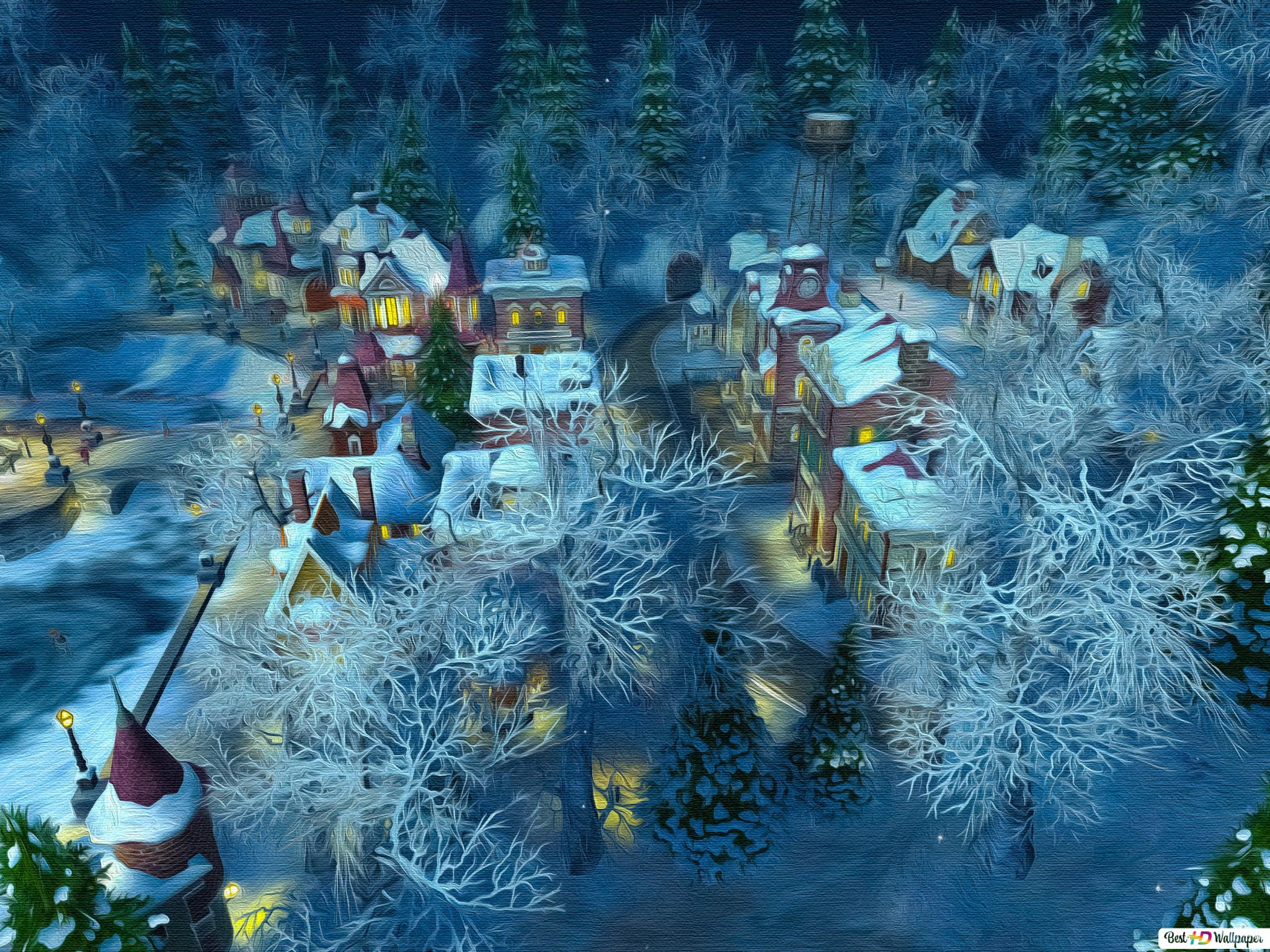 Kar Köy Boyama Hd Duvar Kağıdı Indir
