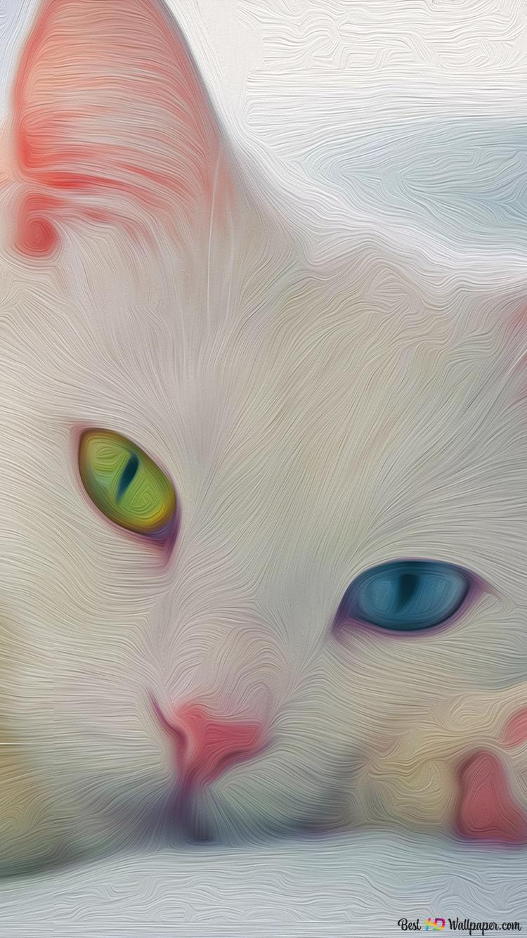 かわいい白猫の背景 Hd壁紙のダウンロード