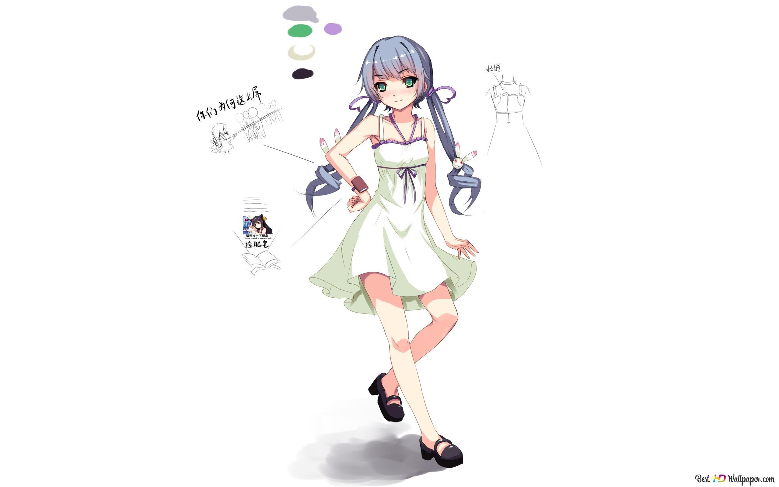 かわいいドレスのアニメの女の子 Hd壁紙のダウンロード