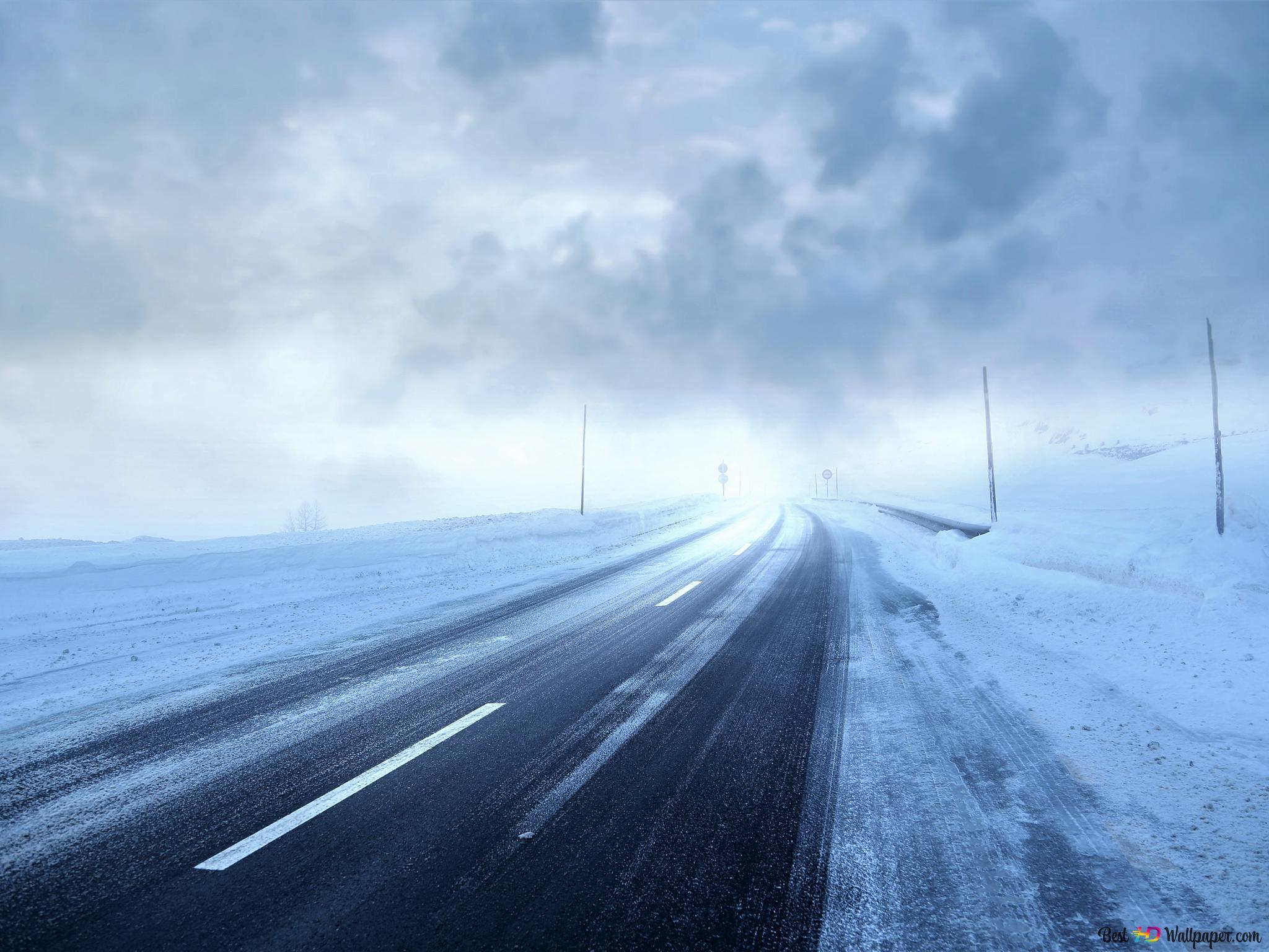嵐の冬の道 Hd壁紙のダウンロード