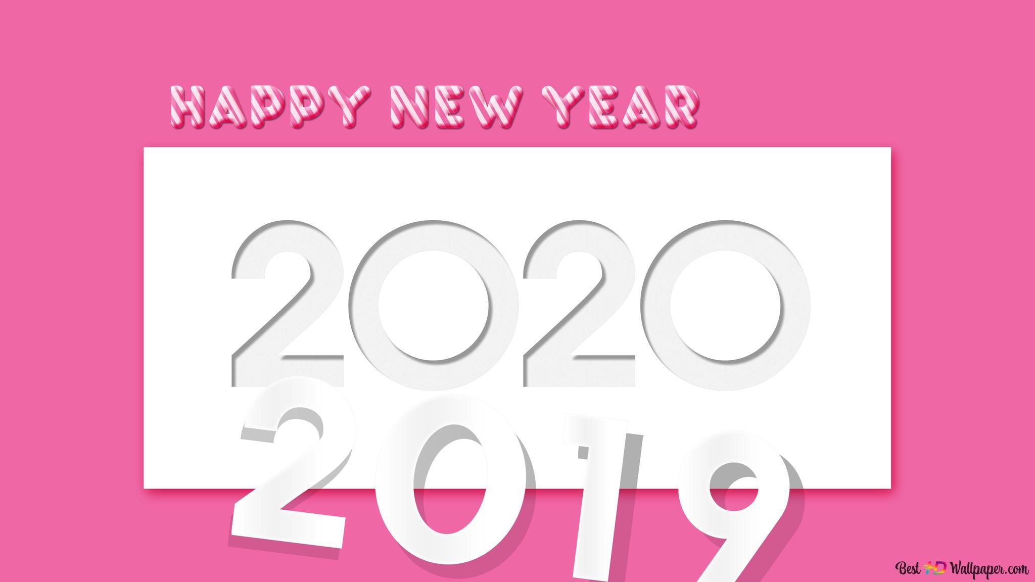 Le Passage A L Annee 2020 Avec Un Fond Rose Et Blanc Hd Fond D Ecran Telecharger