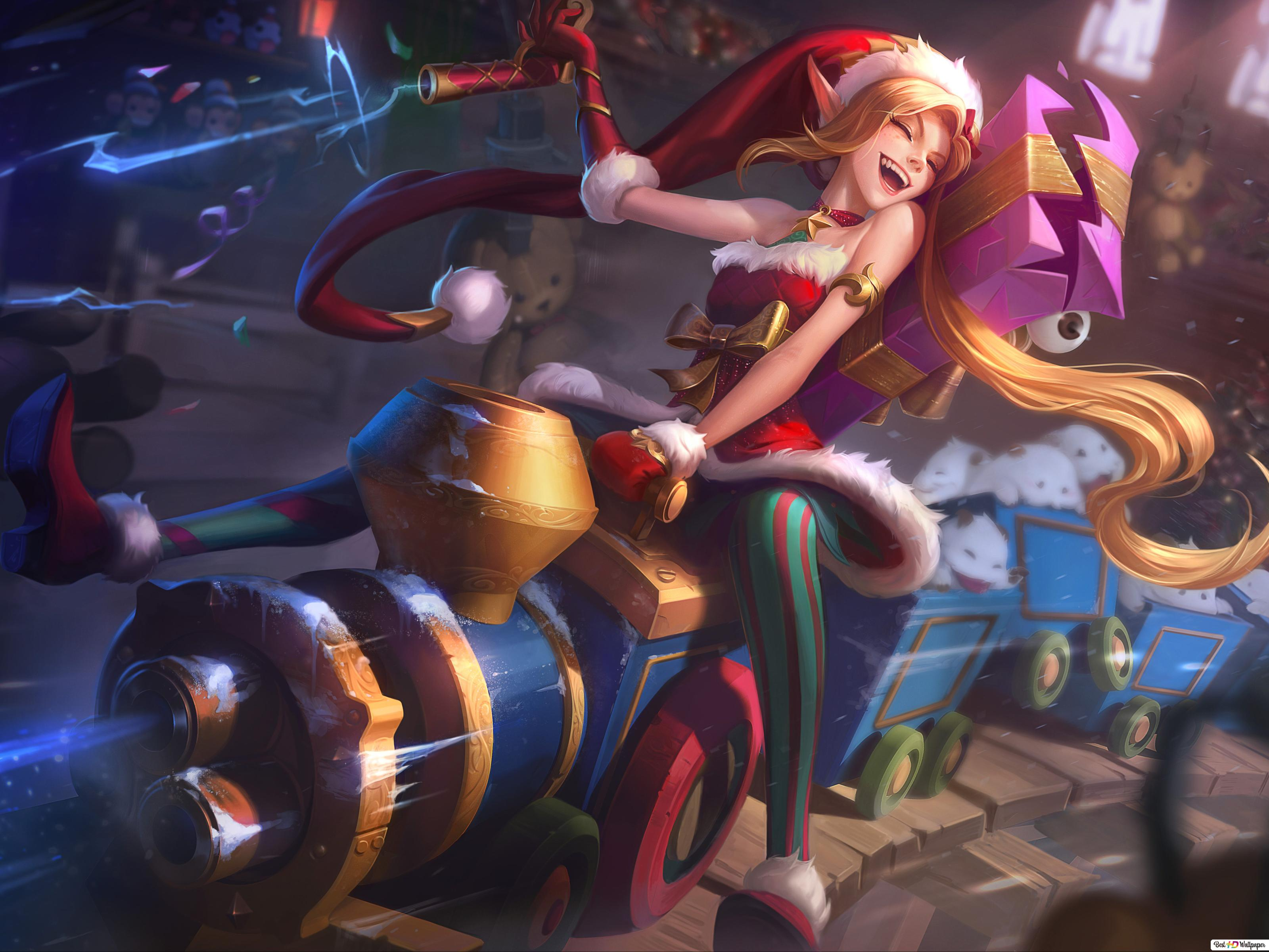 League Of Legends Jinx Enjoying Christmas Hd Wallpaper Download