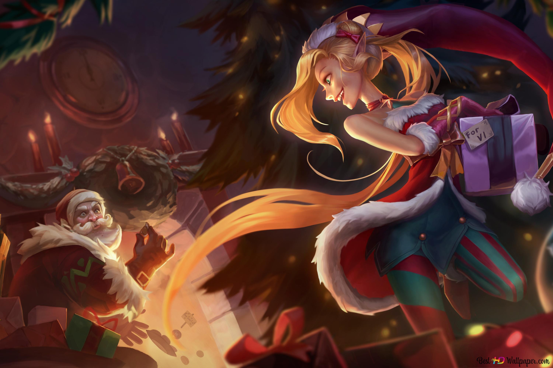 League Of Legends Lol Christmas Jinx Hd Wallpaper Download