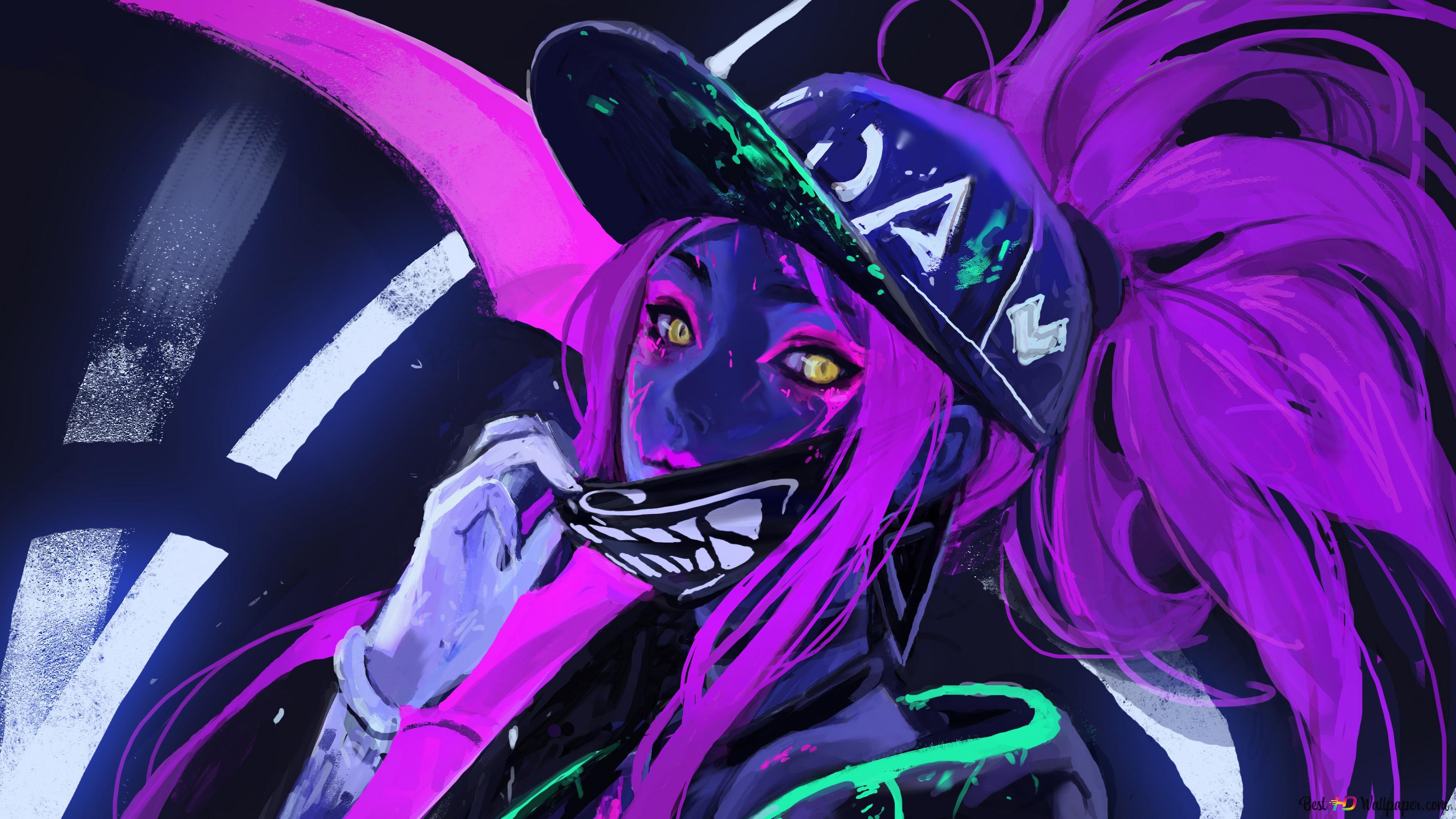 League Of Legends Lol K Da Akali Neon Hd Wallpaper Download
