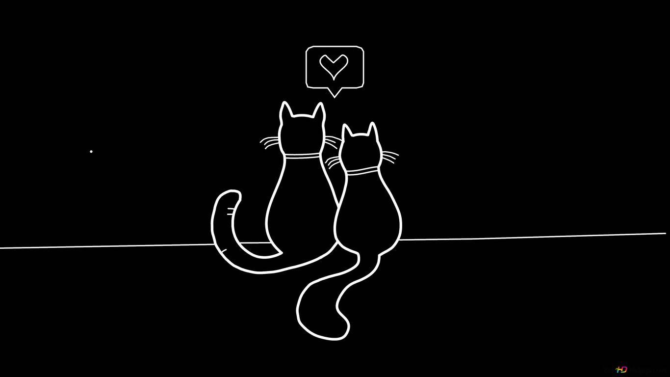 恋人の猫黒と白の手描き Hd壁紙のダウンロード